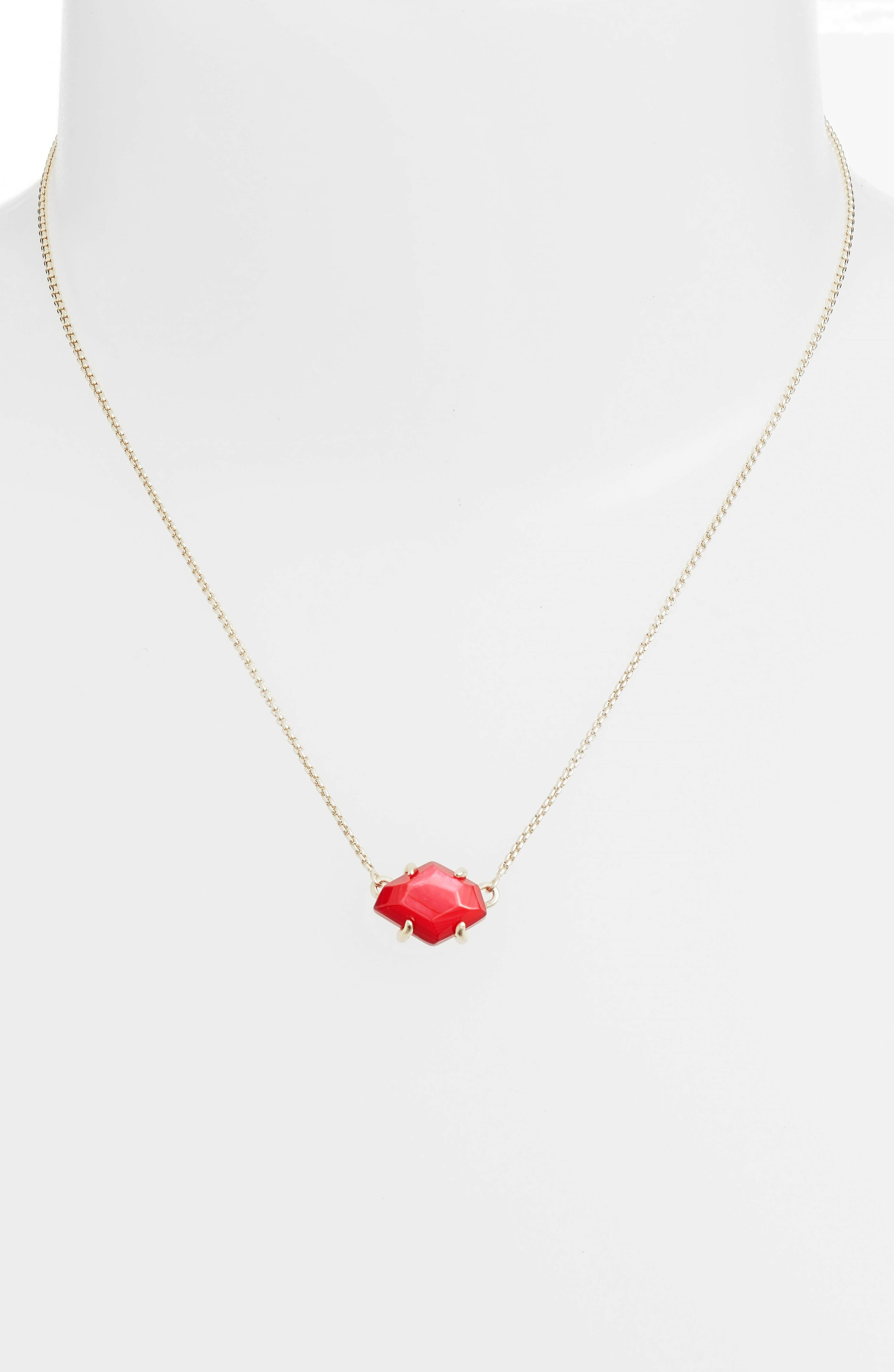 Ethan Pendant Necklace,                             Alternate thumbnail 2, color,                             Red Mop/ Gold