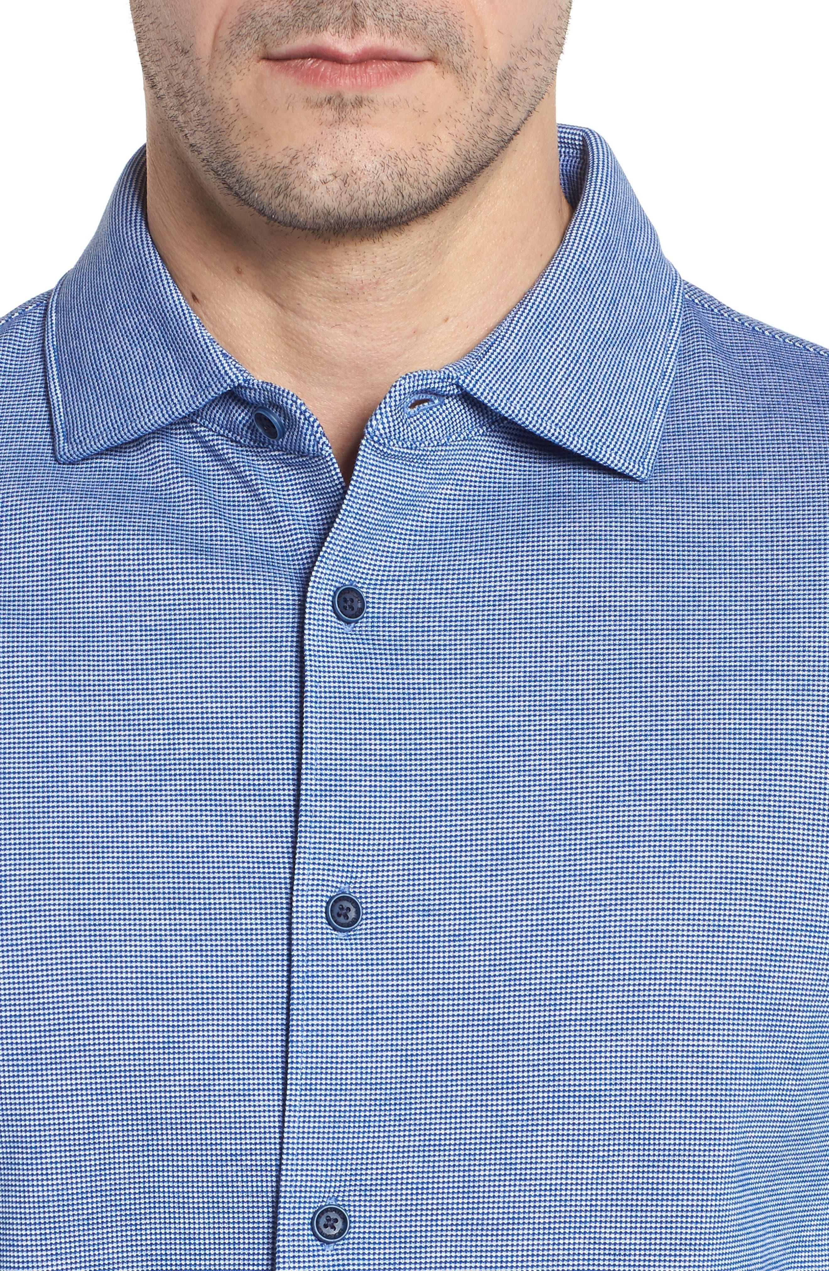 Regular Fit Piqué Cotton Sport Shirt,                             Alternate thumbnail 4, color,                             Navy