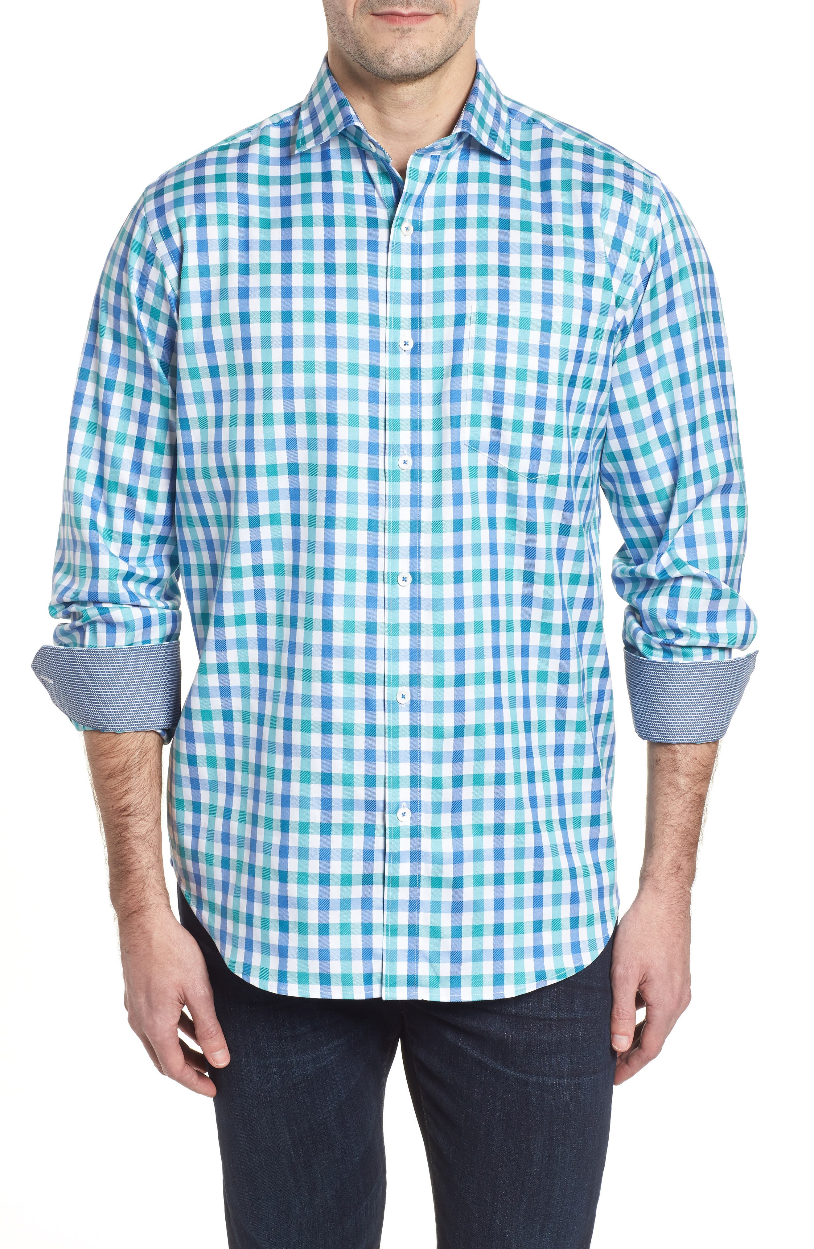 Classic Fit Gingham Check Sport Shirt,                         Main,                         color, Emerald
