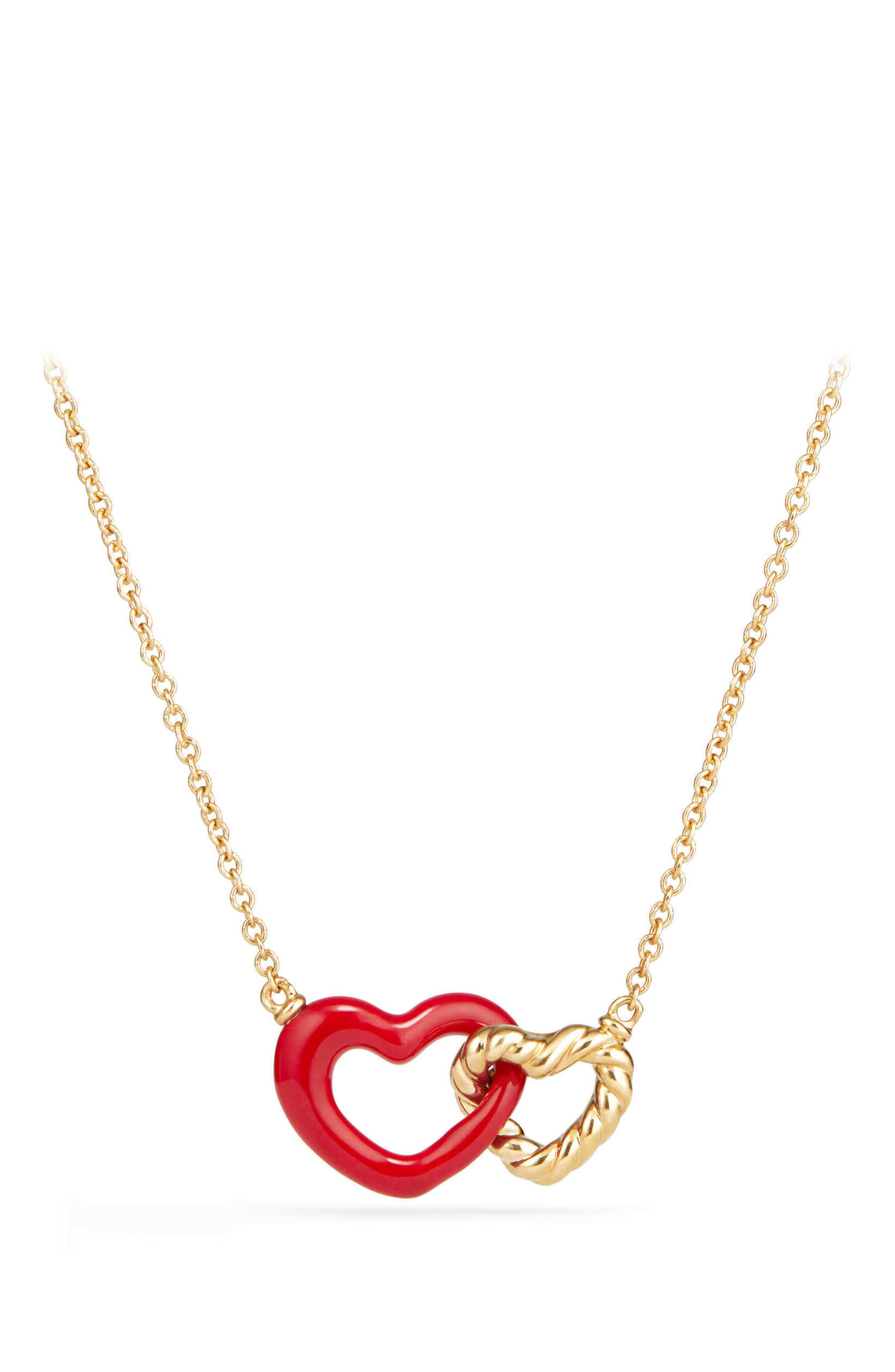 Double Heart Pendant Necklace with Red Enamel and 18K Gold,                         Main,                         color, Gold
