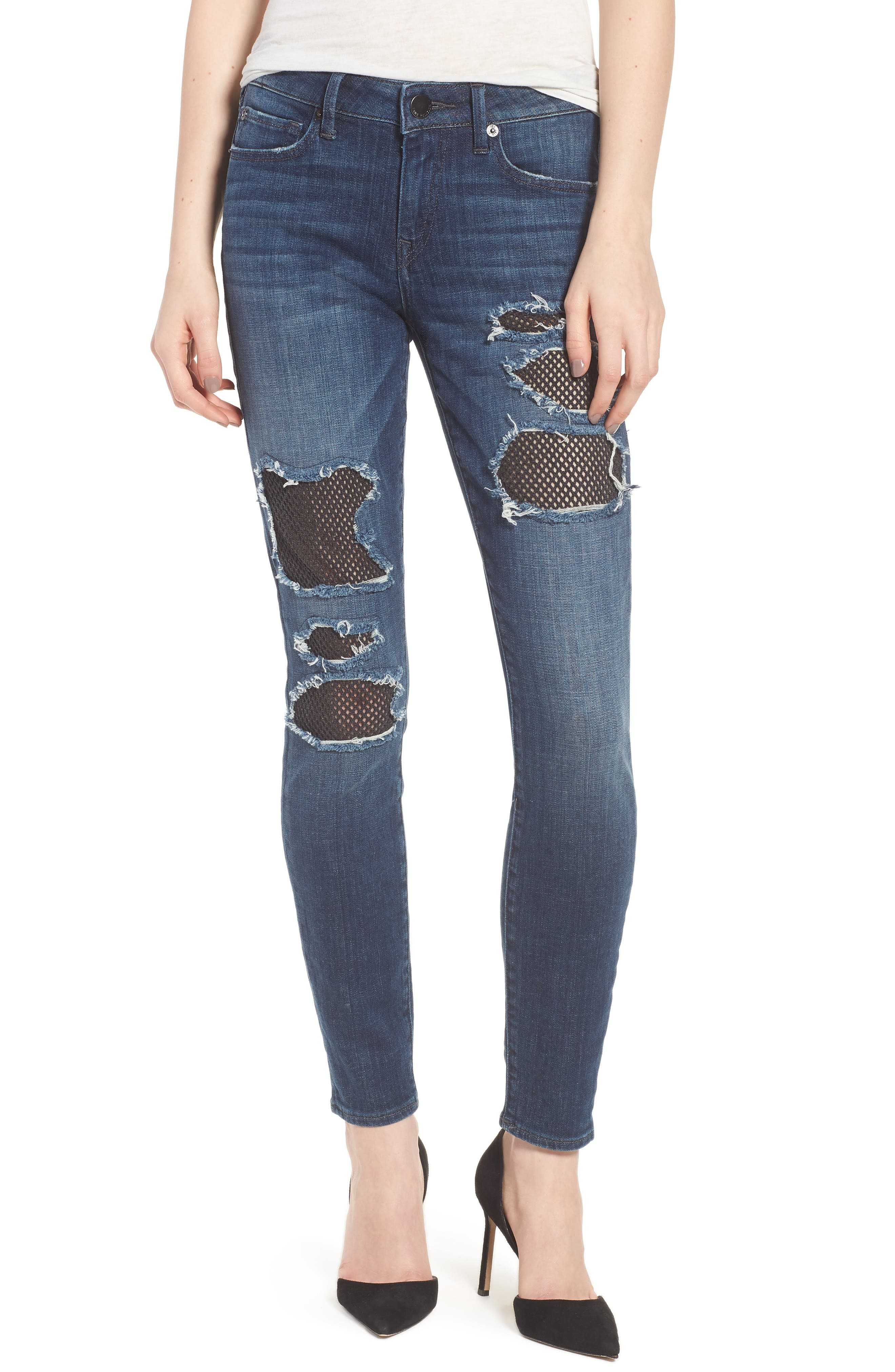 Alternate Image 1 Selected - True Religion Brand Jeans Halle Fishnet Skinny Jeans (Cobalt Crush)
