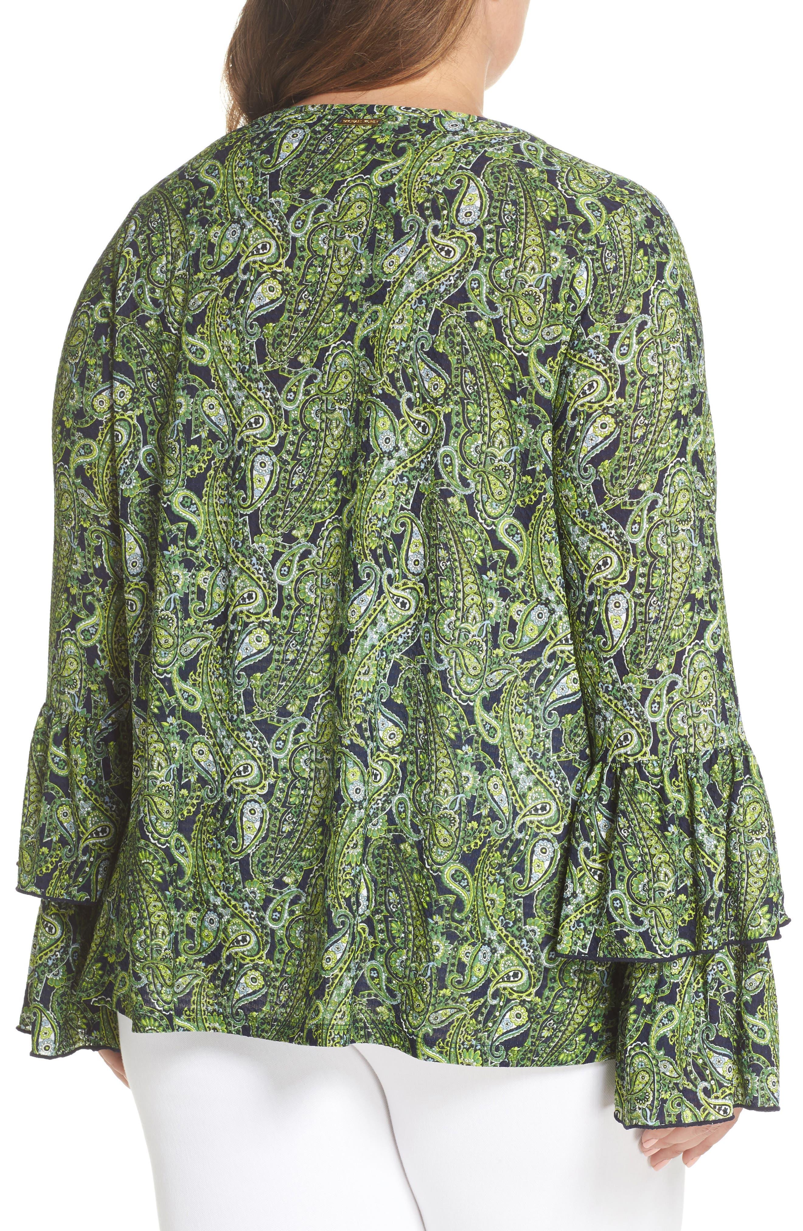 Pais Tier Sleeve Blouse,                             Alternate thumbnail 2, color,                             True Navy/ Green Apple Mu