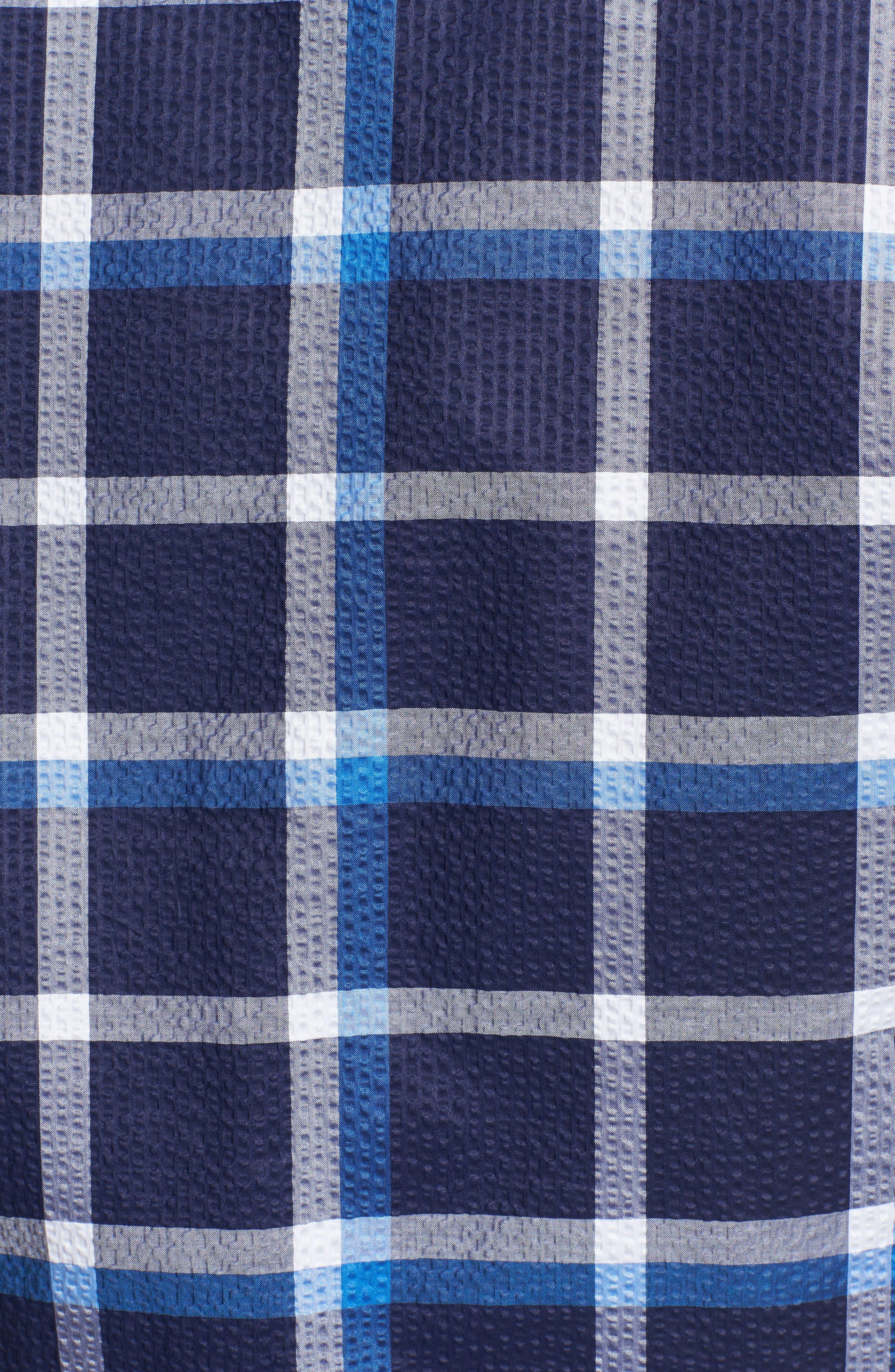 Shaped Fit Windowpane Plaid Sport Shirt,                             Alternate thumbnail 5, color,                             Navy