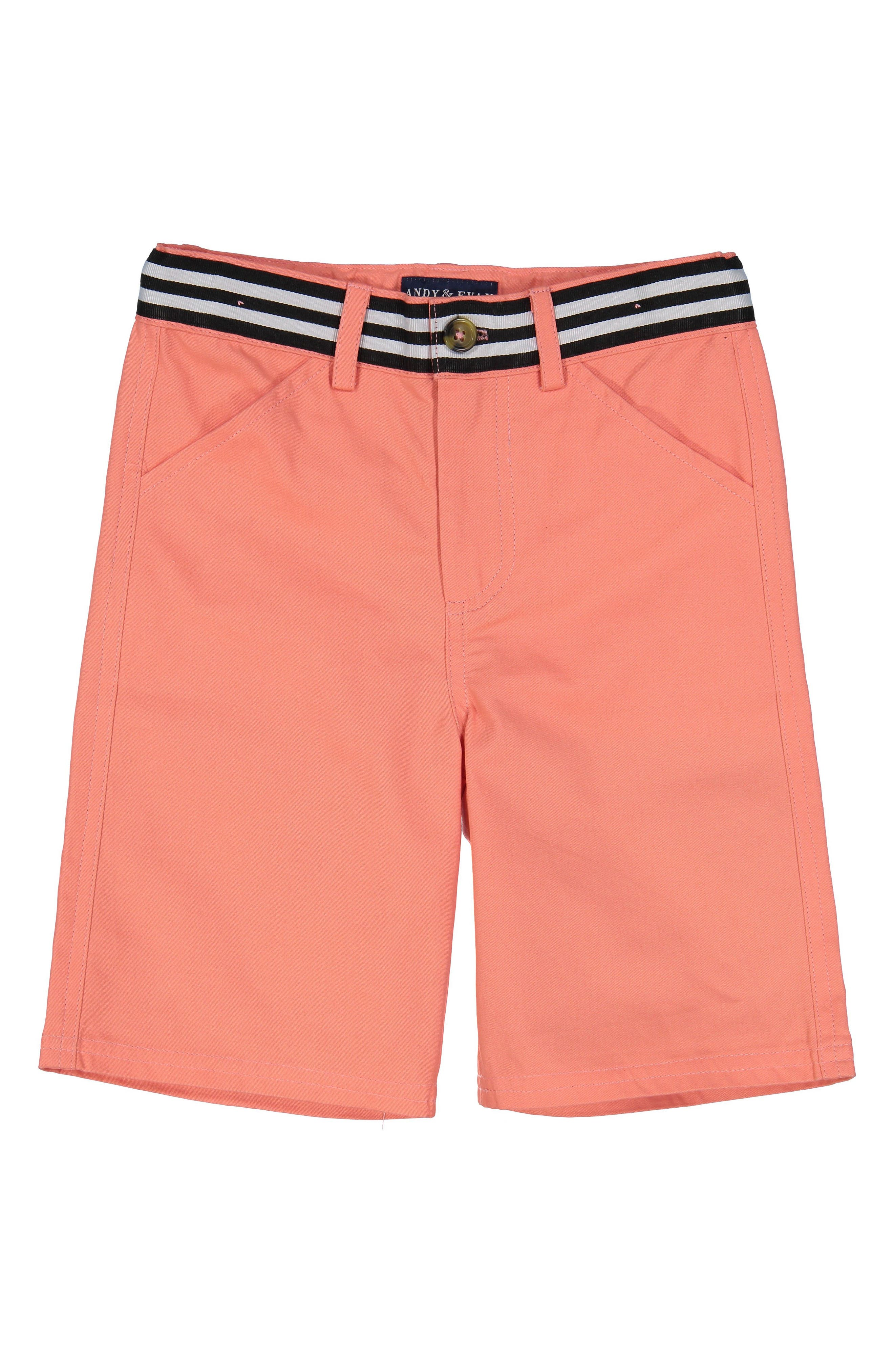 Stretch Cotton Shorts,                         Main,                         color, Coral