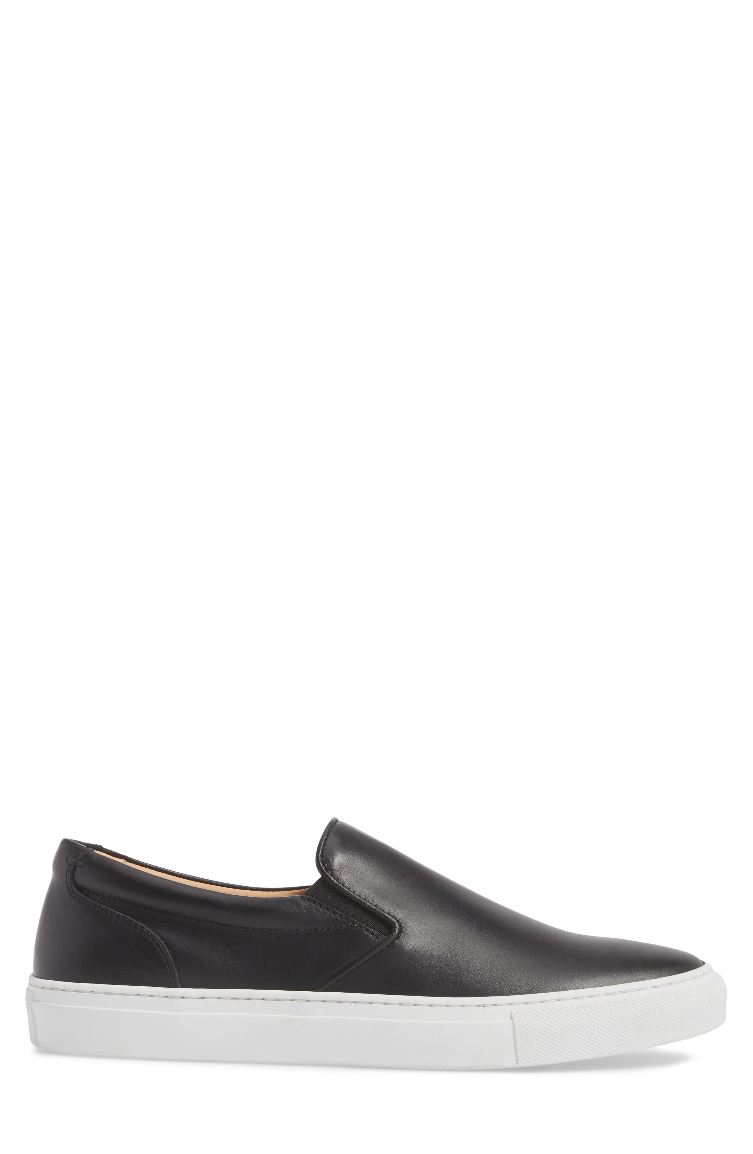 Wooster Slip-On Sneaker,                             Alternate thumbnail 3, color,                             Black Leather