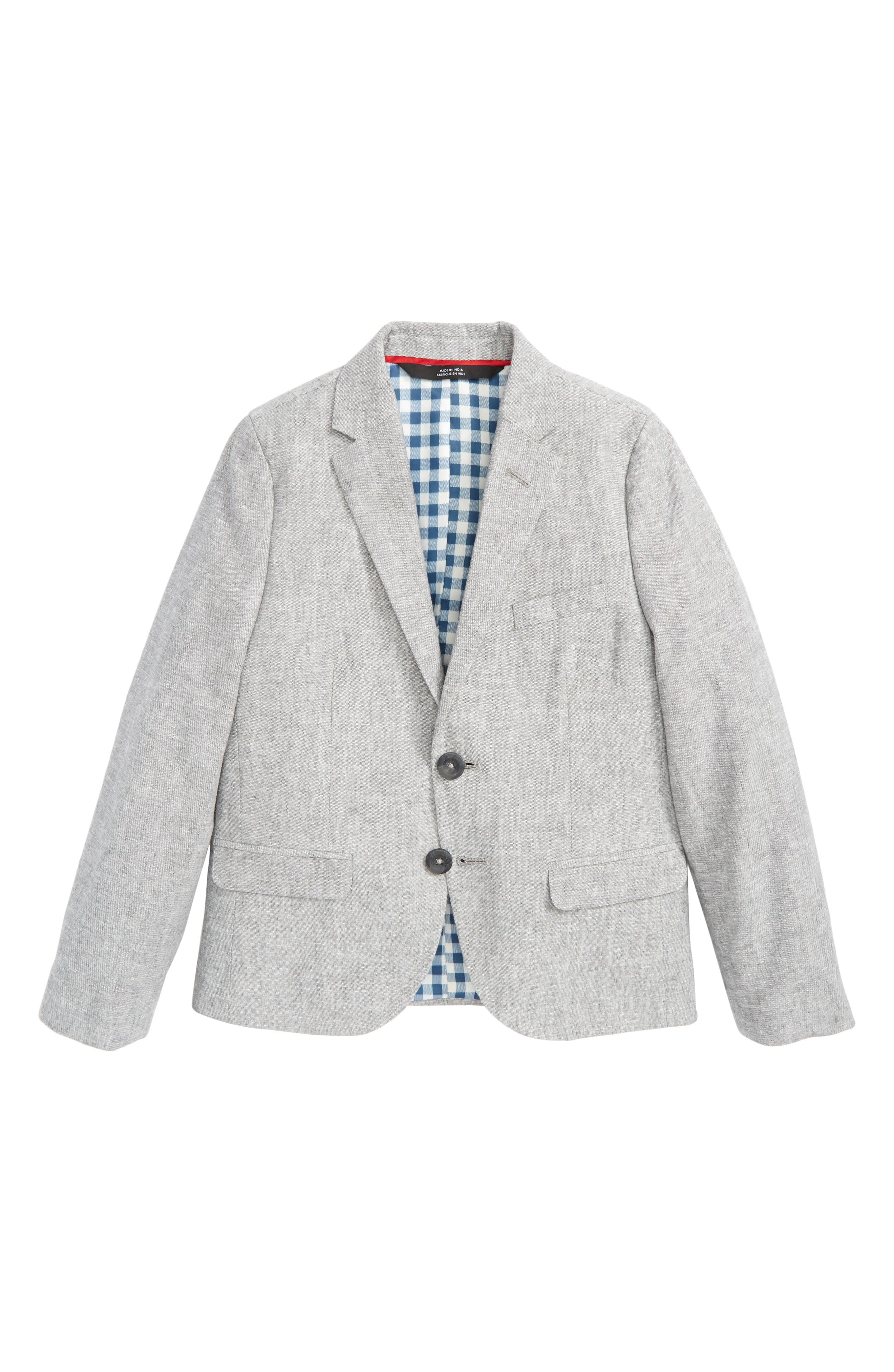 Elliott Linen & Cotton Blazer,                             Main thumbnail 1, color,                             Grey Linen