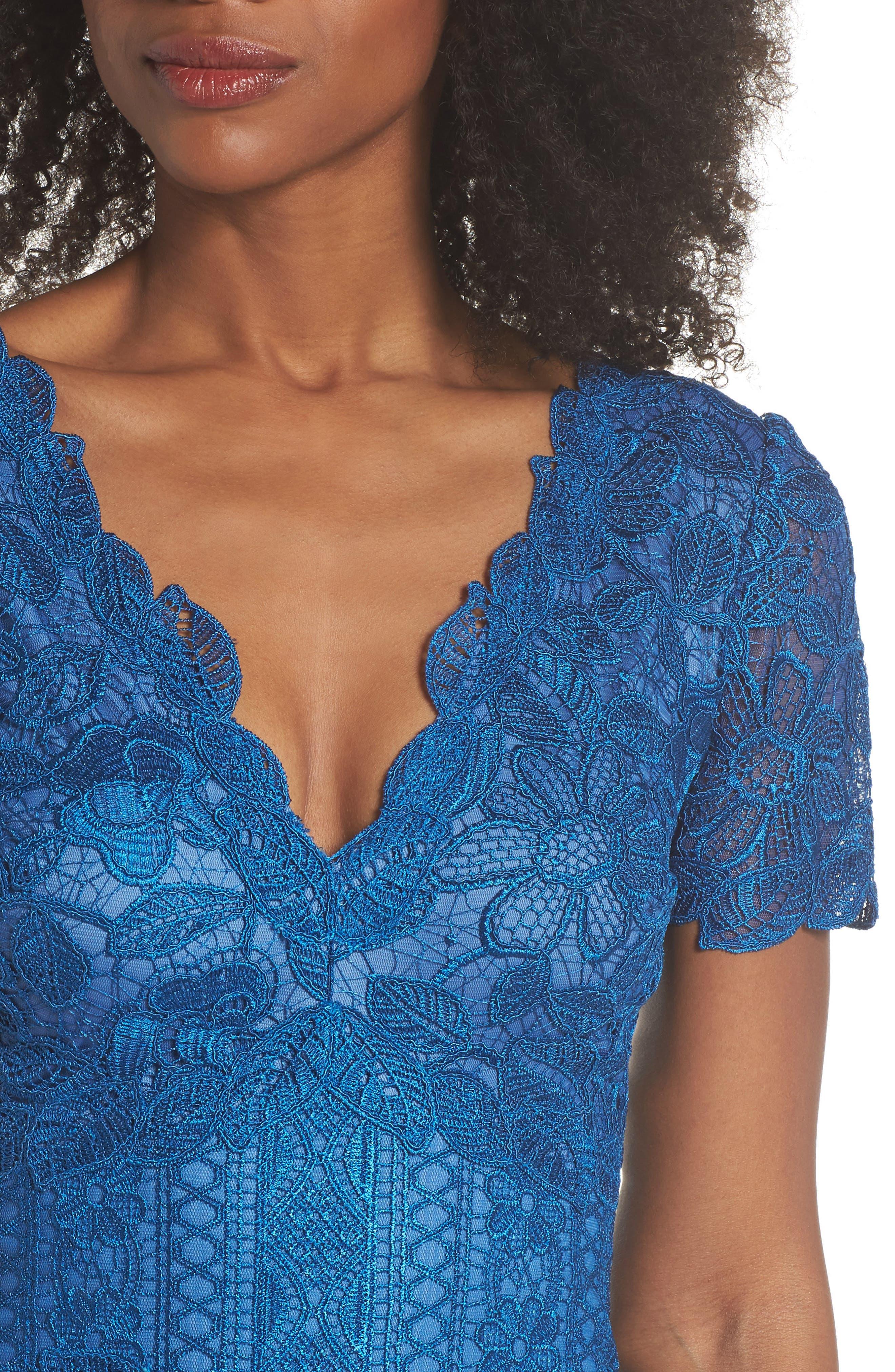 Carter Lace Sheath Dress,                             Alternate thumbnail 4, color,                             Azure