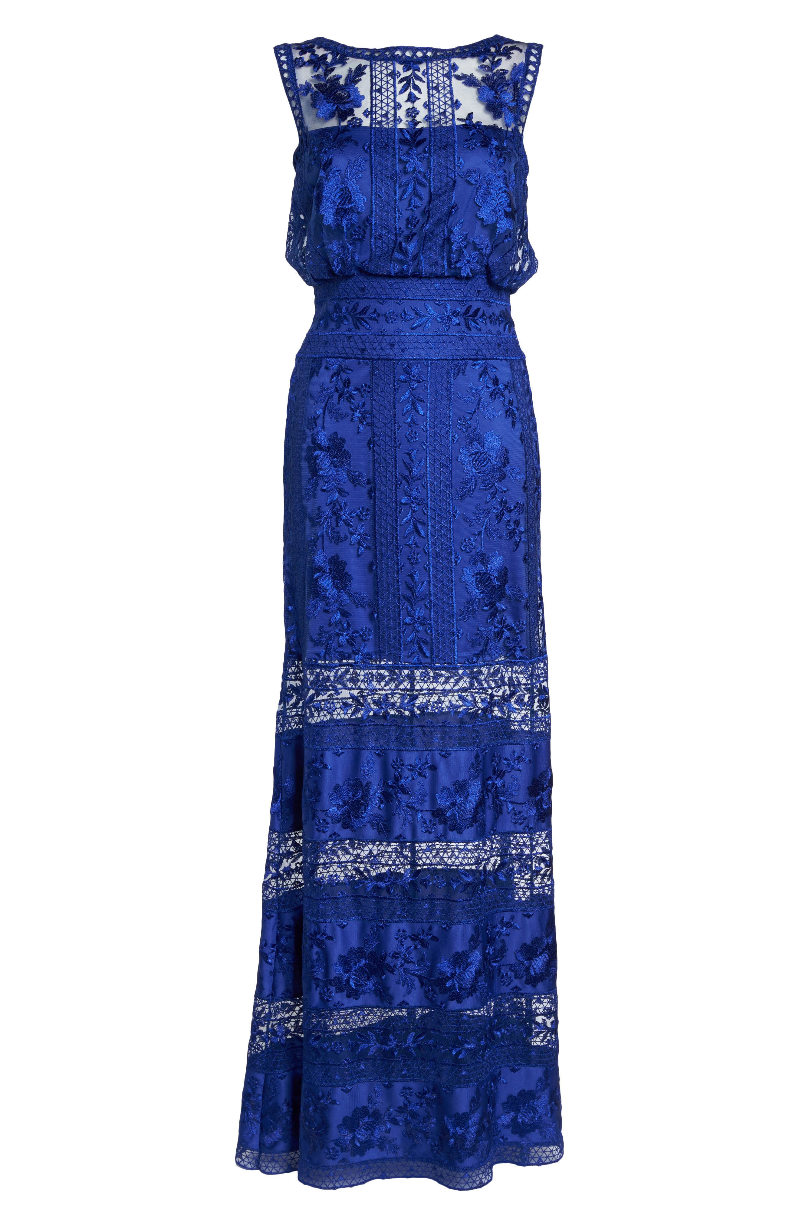 Kaisra Embroidered Lace Gown,                             Alternate thumbnail 6, color,                             Indigo