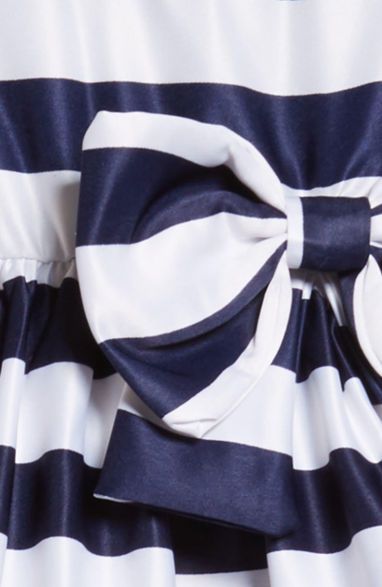 Tara Stripe Party Dress,                             Alternate thumbnail 3, color,                             White/ Navy