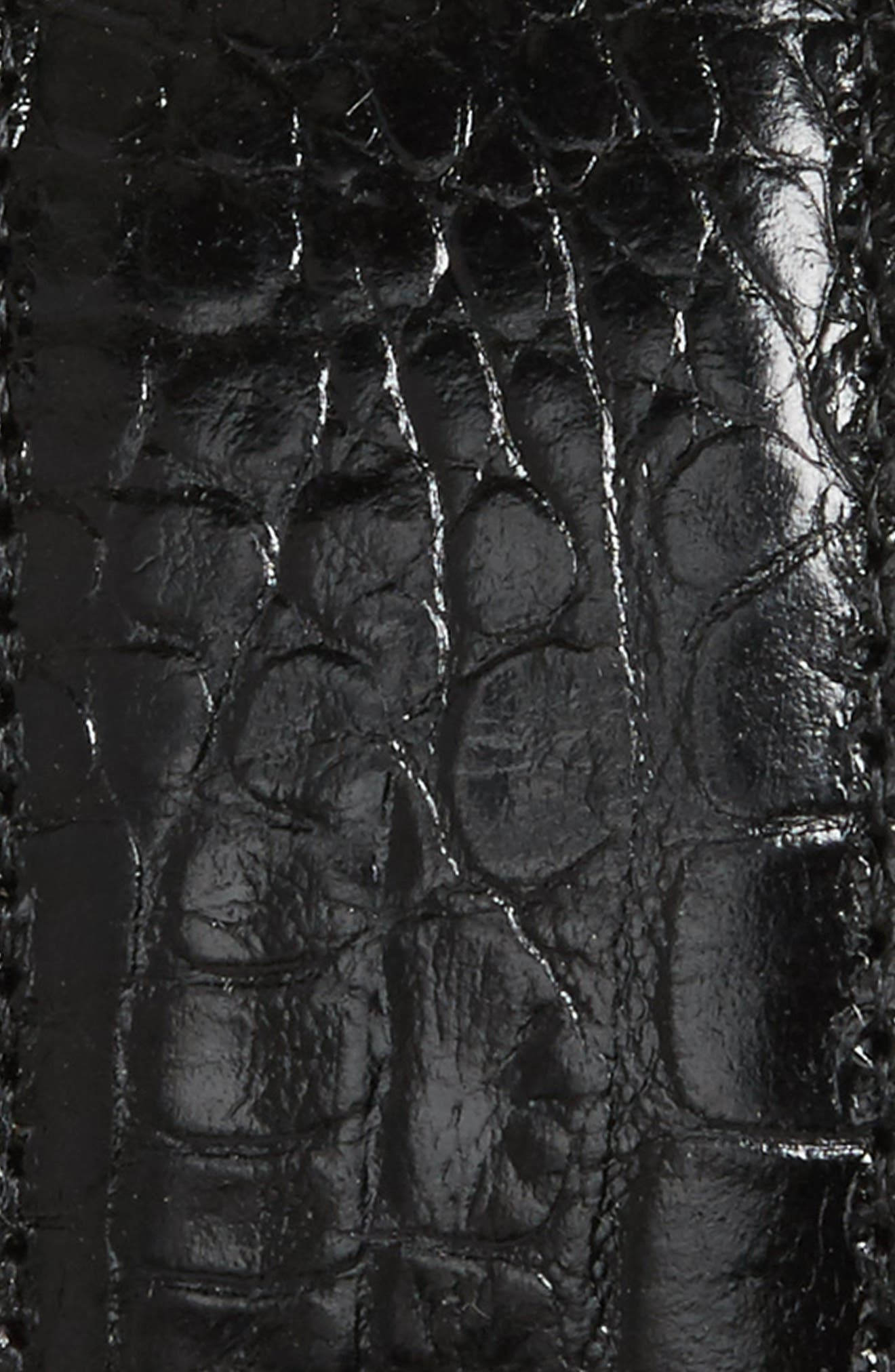 Gator Grain Embossed Leather Belt,                             Alternate thumbnail 3, color,                             Black