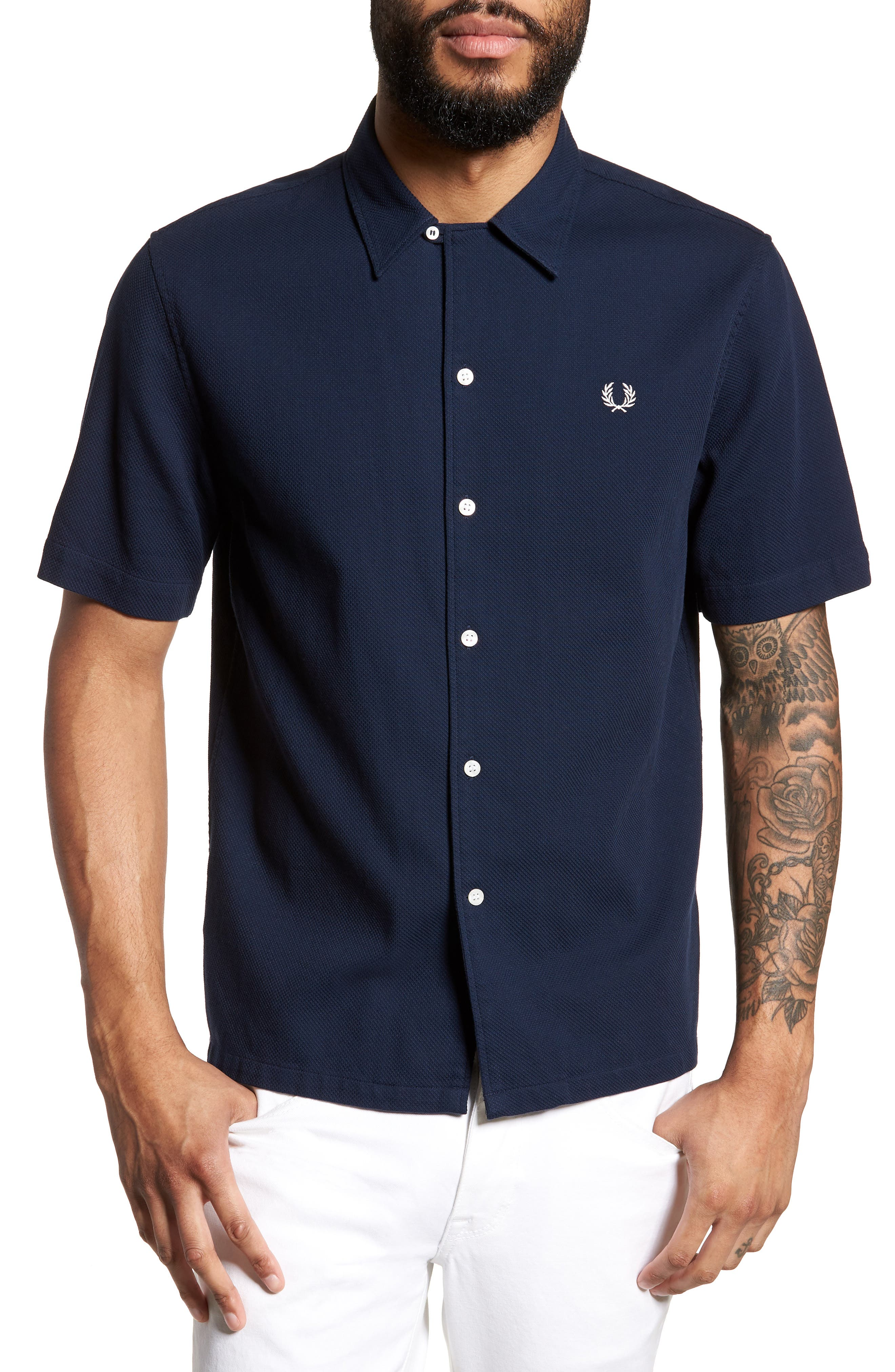 Woven Piqué Shirt,                             Main thumbnail 1, color,                             Carbon Blue