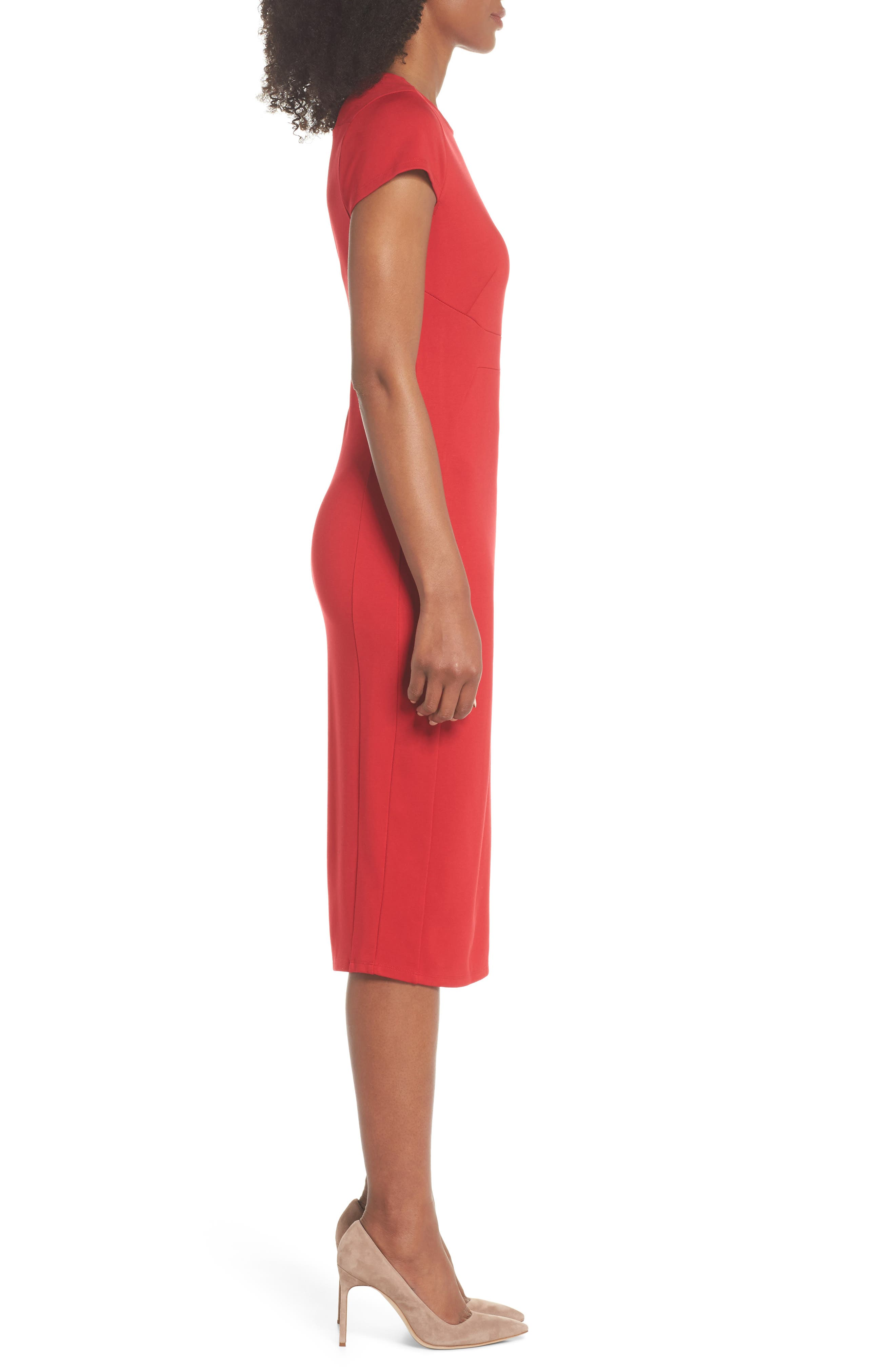 Austin Sheath Dress,                             Alternate thumbnail 3, color,                             Tango Red