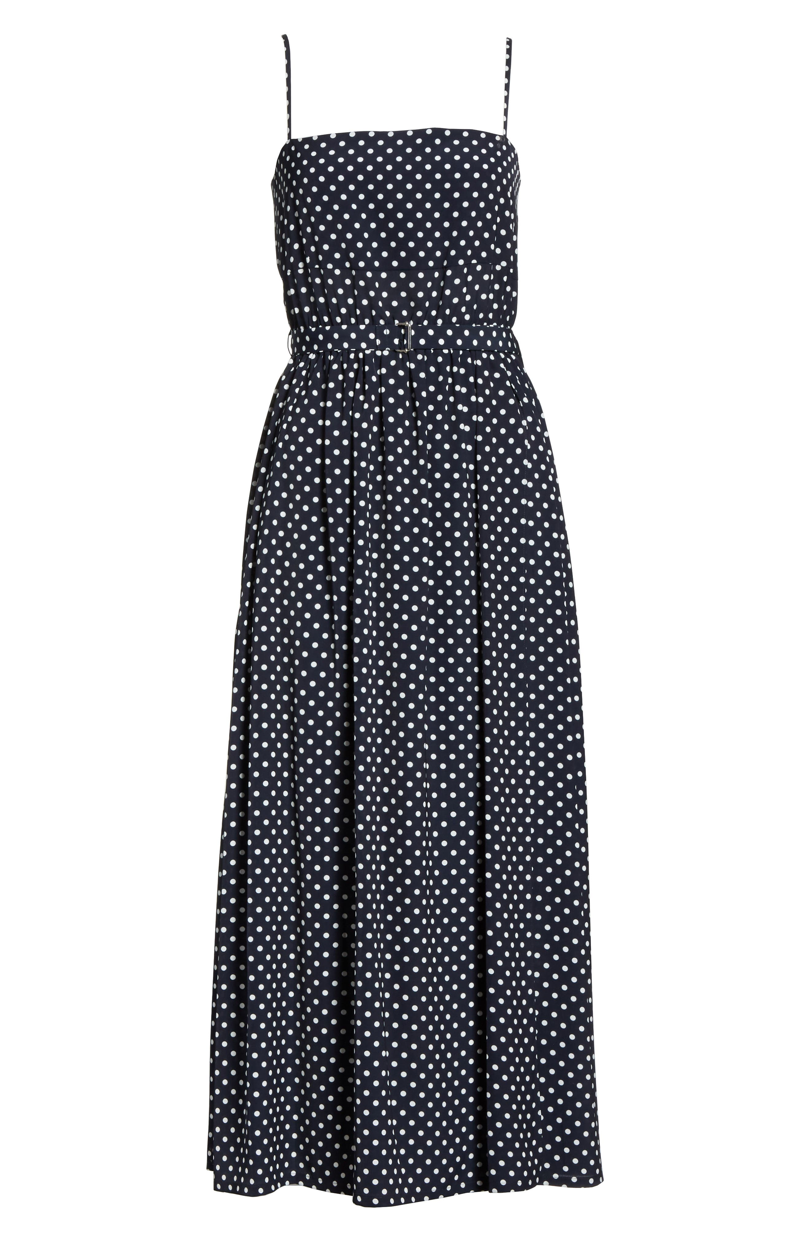 Polka Dot Midi Dress,                             Alternate thumbnail 7, color,                             Navy