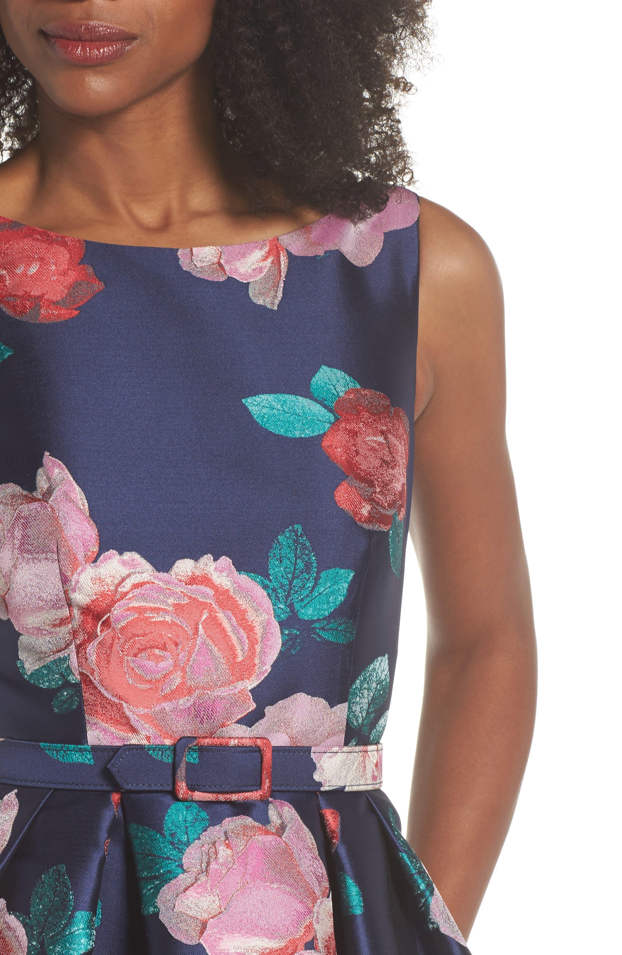 Floral Fit & Flare Dress,                             Alternate thumbnail 4, color,                             Navy