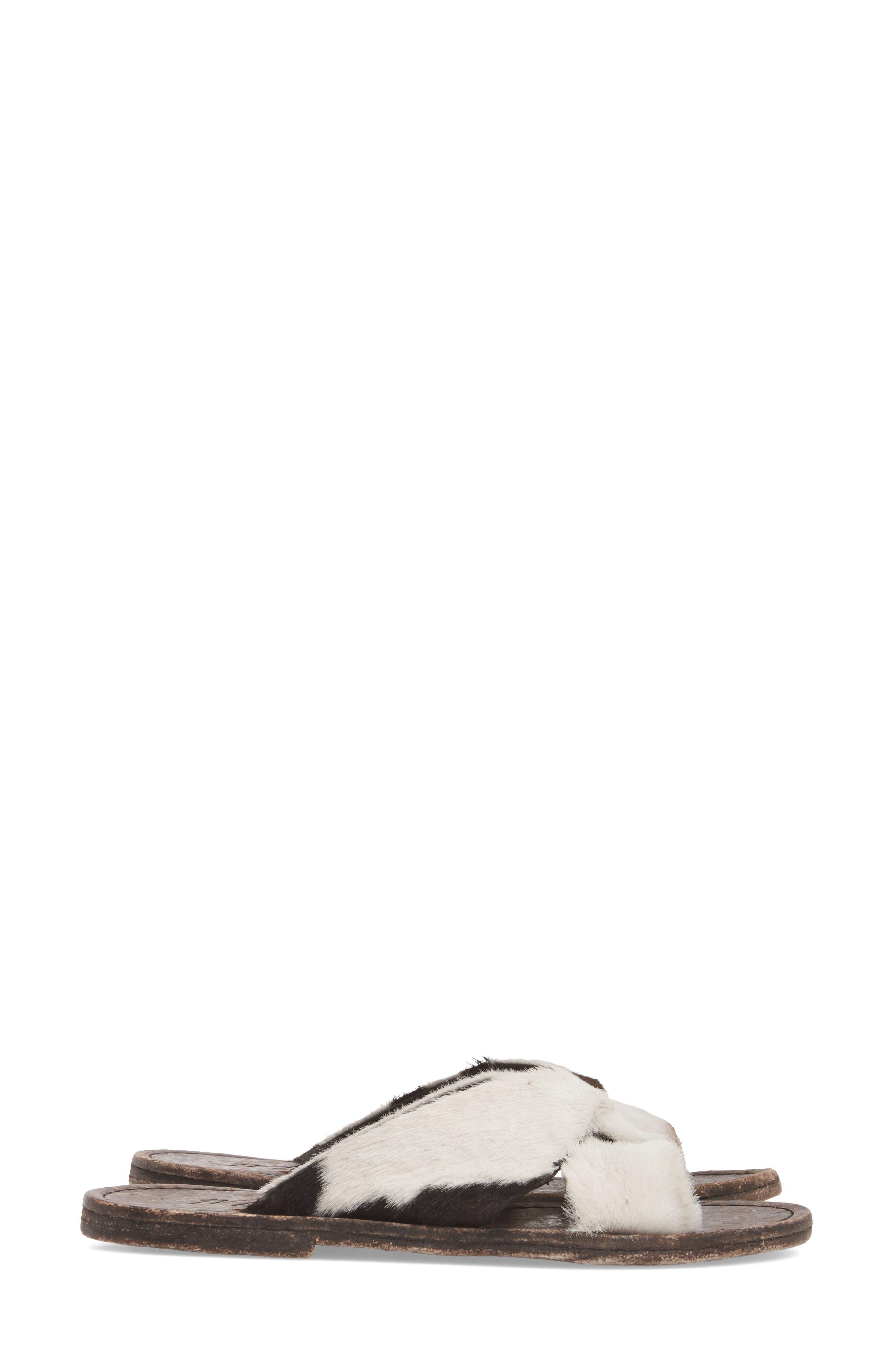 Alamosa Genuine Calf Hair Sandal,                             Alternate thumbnail 3, color,                             Black/ White