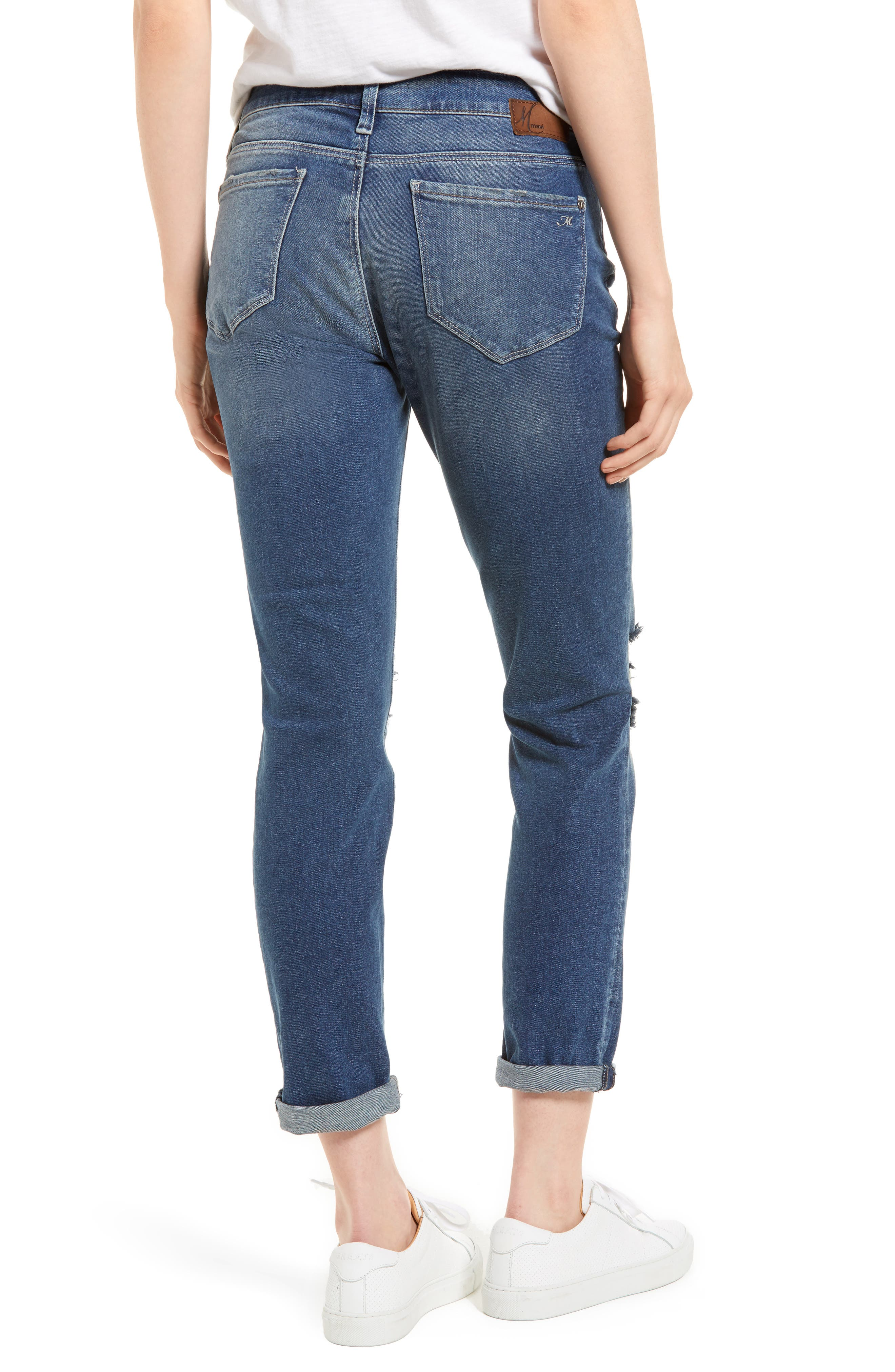 Ada Ripped Boyfriend Jeans,                             Alternate thumbnail 2, color,                             Mid Ripped Vintage