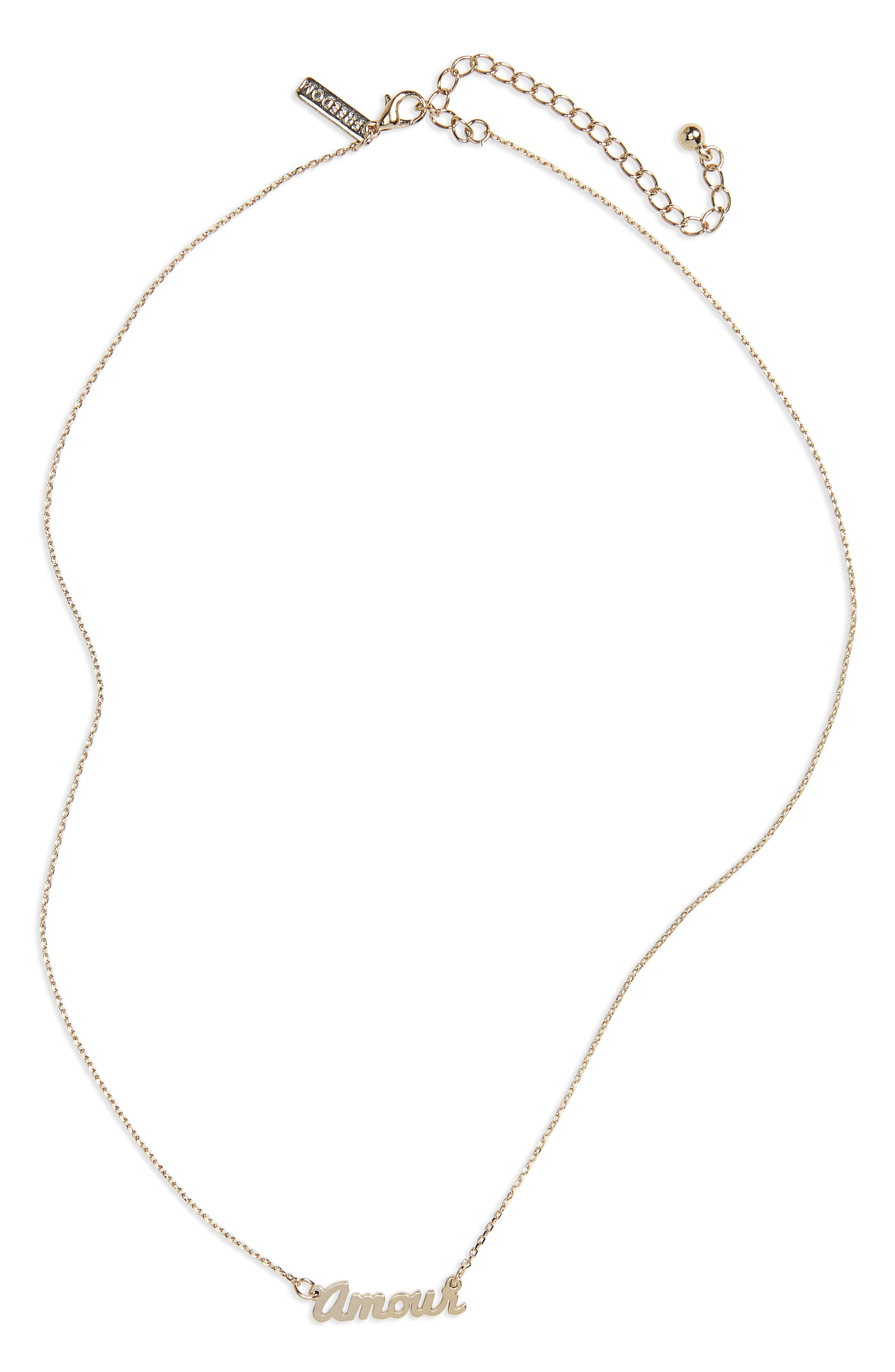 Amour Ditsy Necklace,                             Main thumbnail 1, color,                             Gold