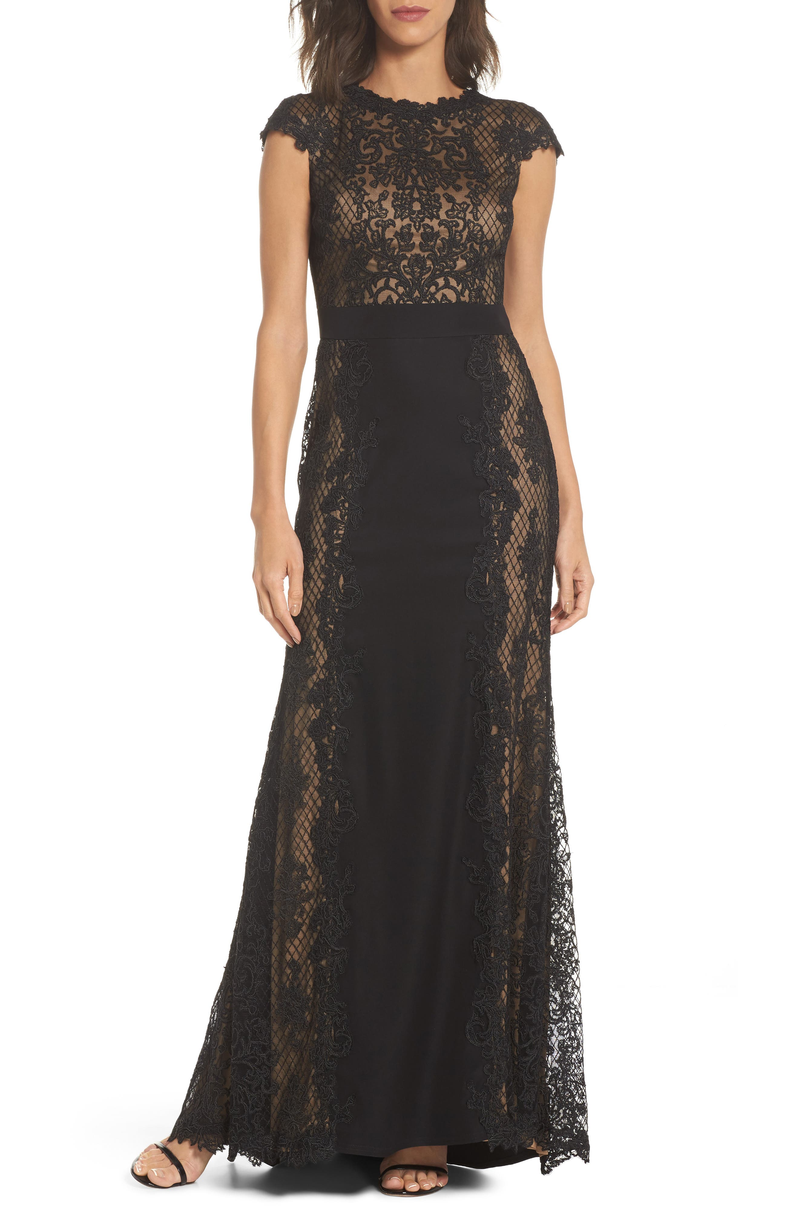 Lace Gown,                             Main thumbnail 1, color,                             Black/ Nude