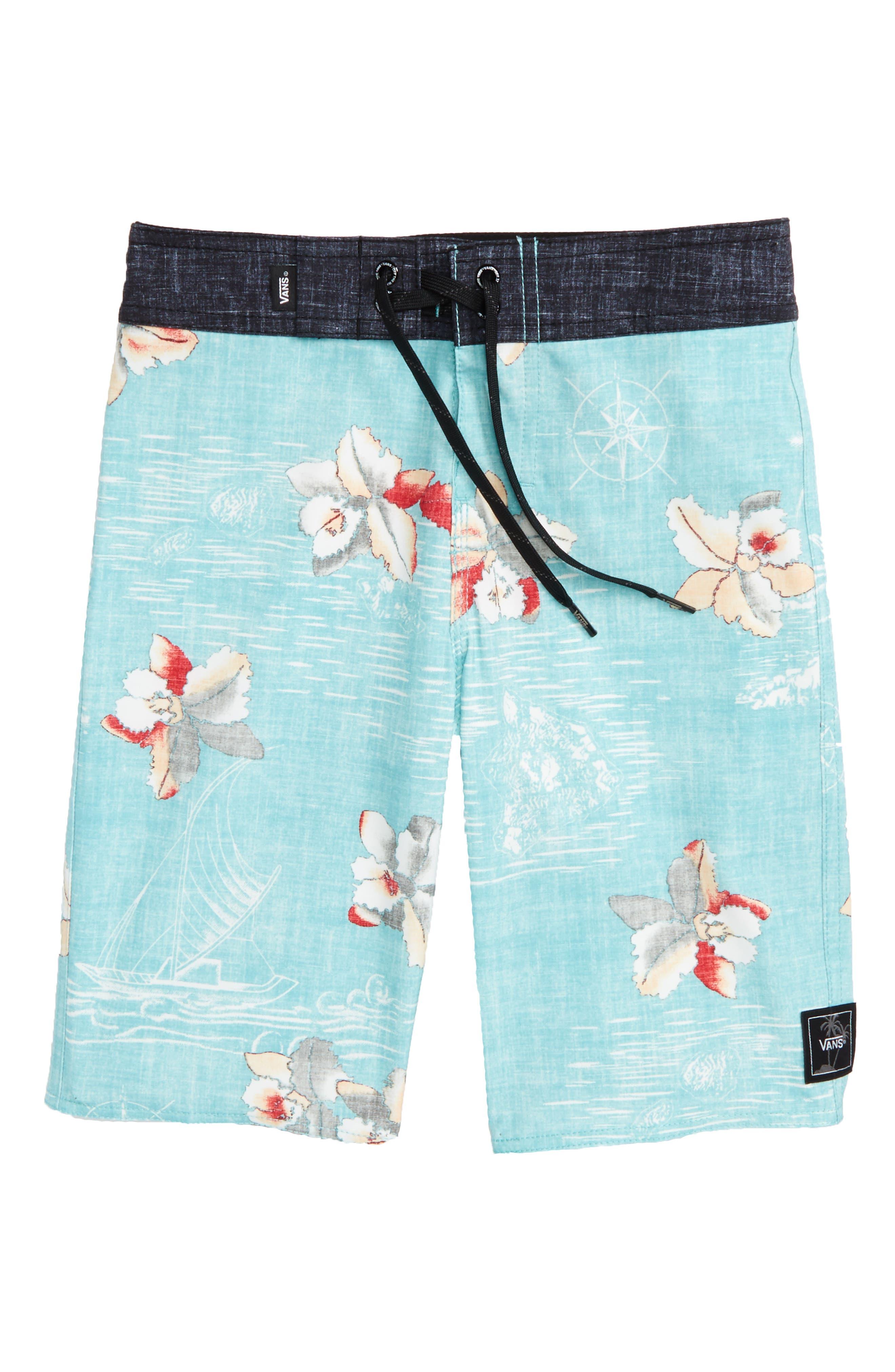 Hawaii Floral Board Shorts,                             Main thumbnail 1, color,                             Aquarelle