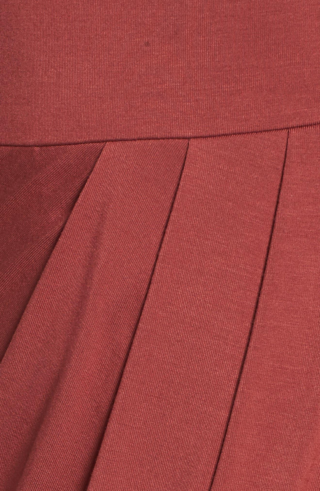 Pleated Wrap Dress,                             Alternate thumbnail 5, color,                             Rust Marsala
