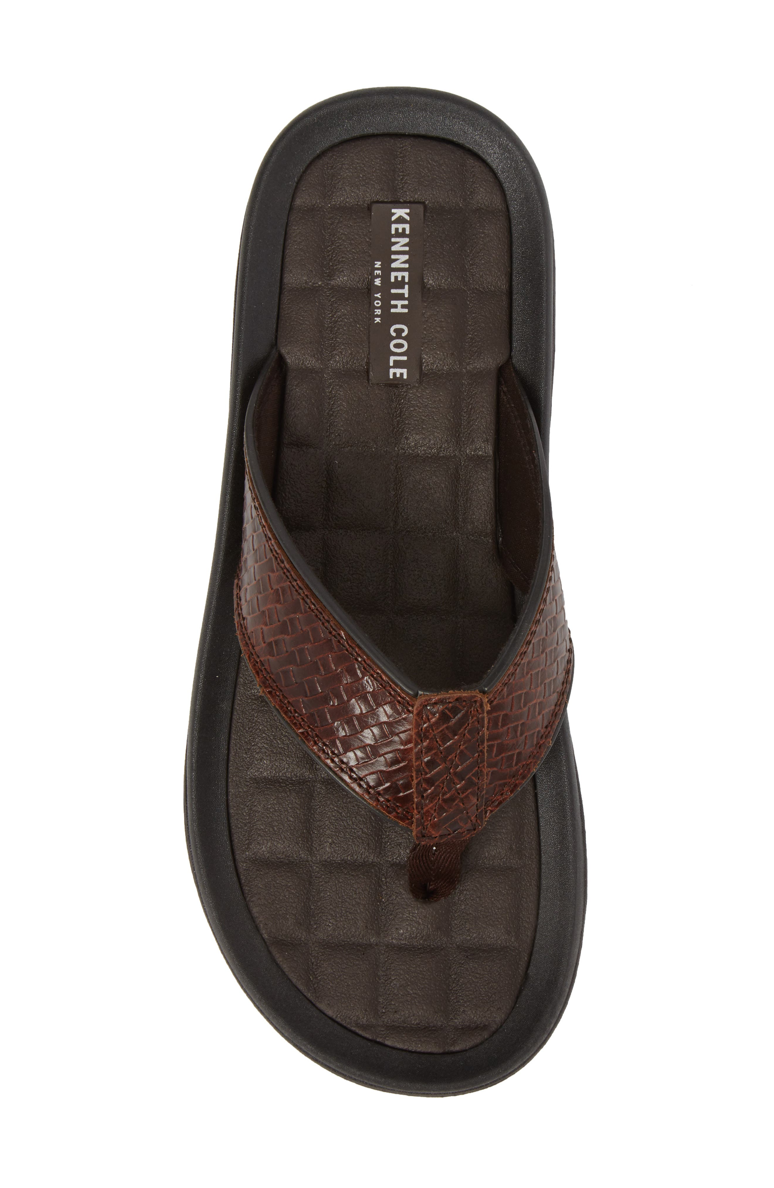 Izzo Embossed Flip Flop,                             Alternate thumbnail 5, color,                             Brown Leather