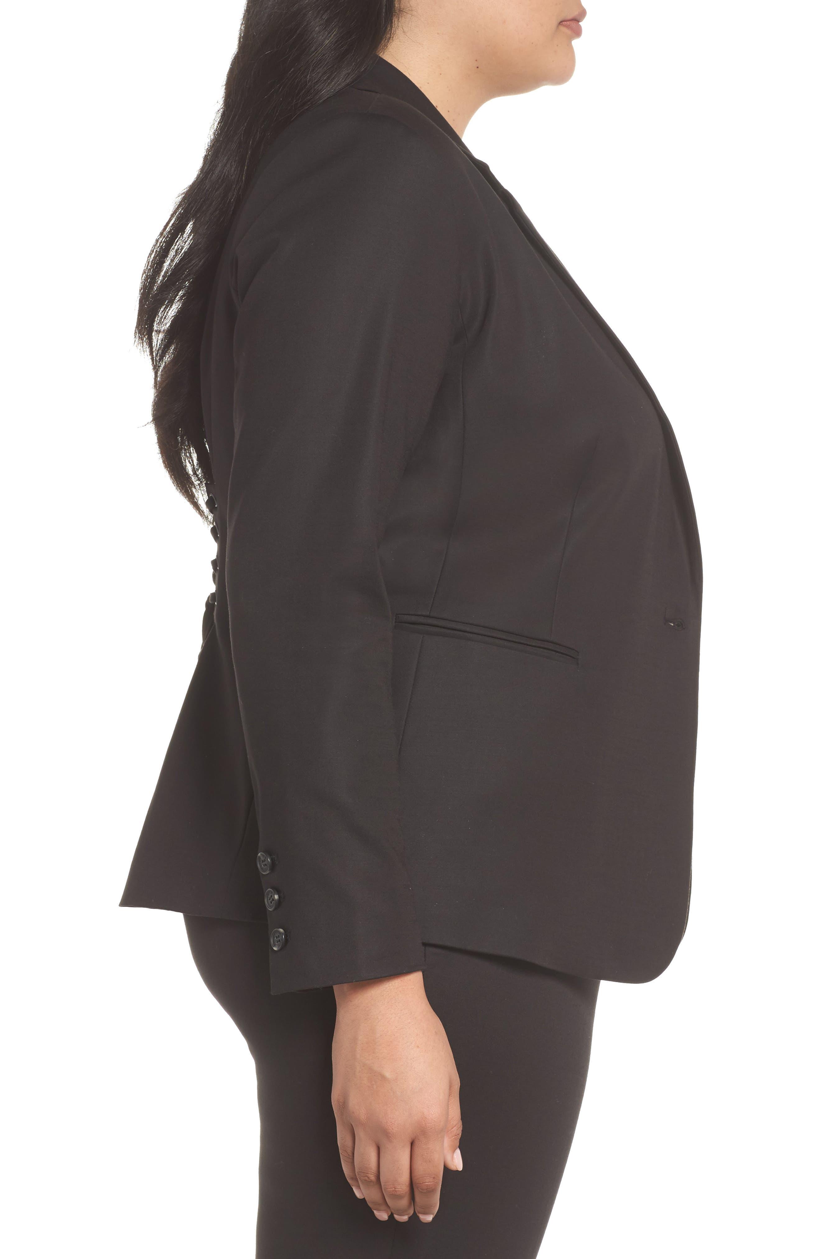 Lace-Up Back Blazer,                             Alternate thumbnail 3, color,                             Rich Black