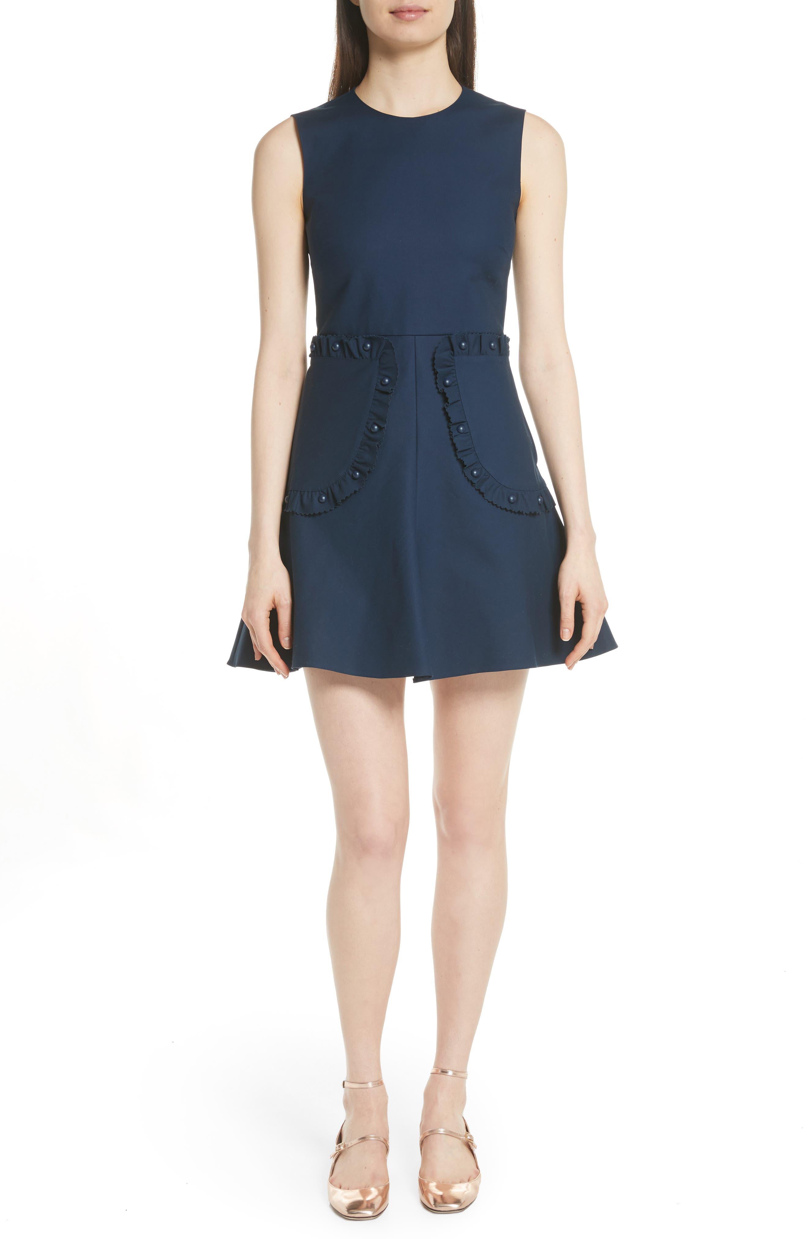 Ruffle Pocket A-Line Dress,                             Main thumbnail 1, color,                             Oceano