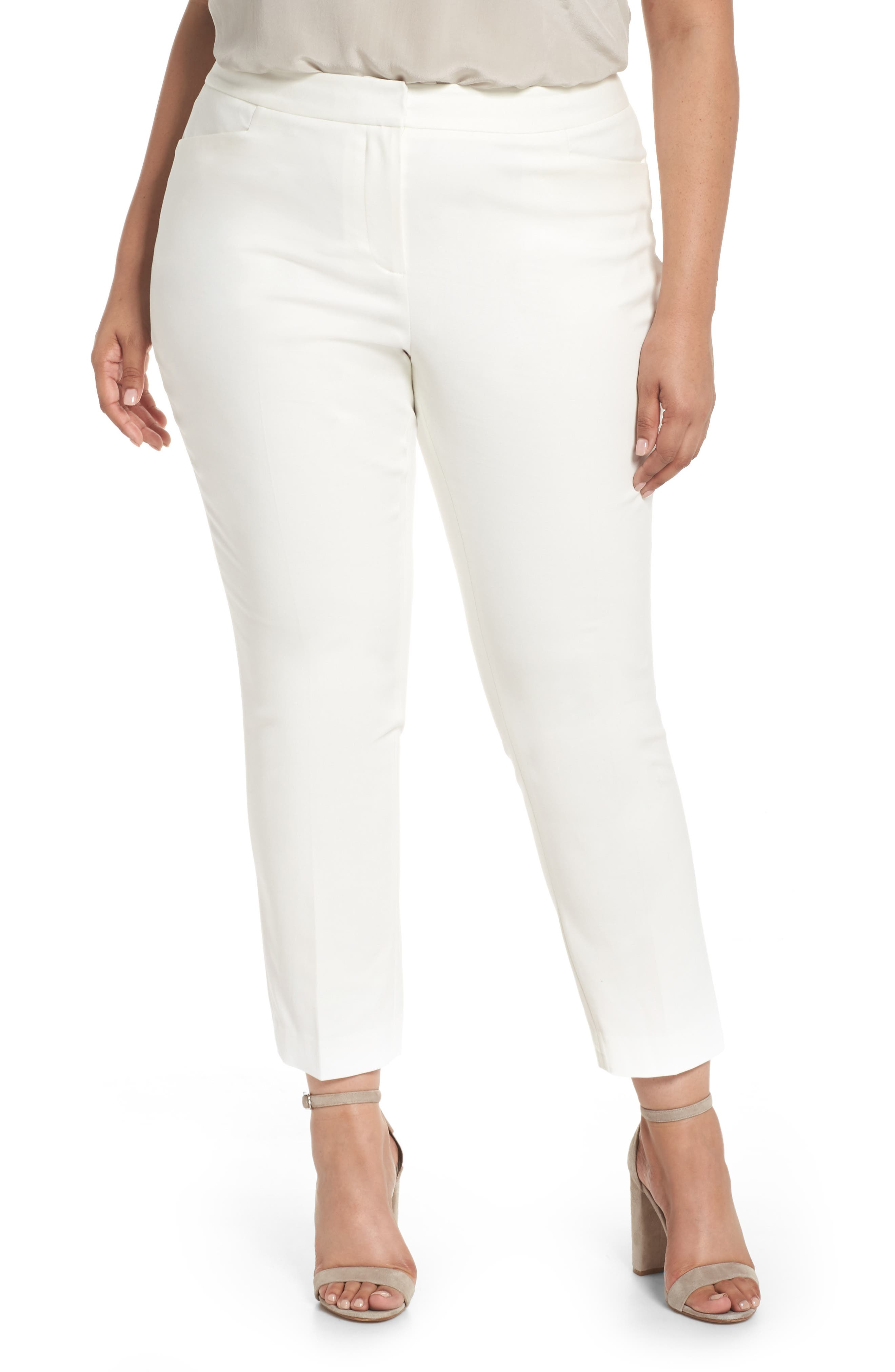 Stretch Cotton Blend Ankle Pants,                             Main thumbnail 1, color,                             New Ivory