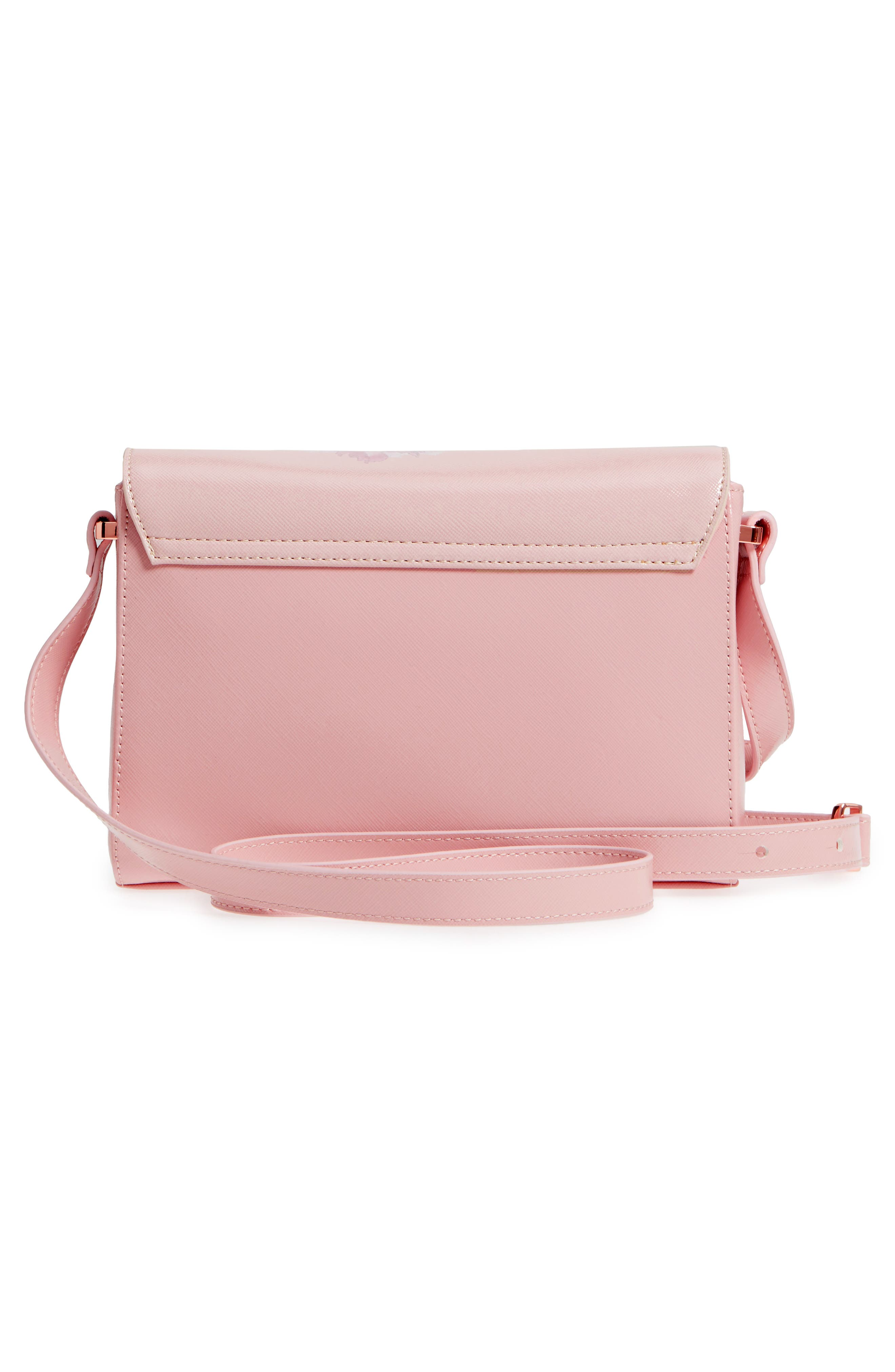 Teda Palace Gardens Faux Leather Crossbody Bag,                             Alternate thumbnail 3, color,                             Dusky Pink