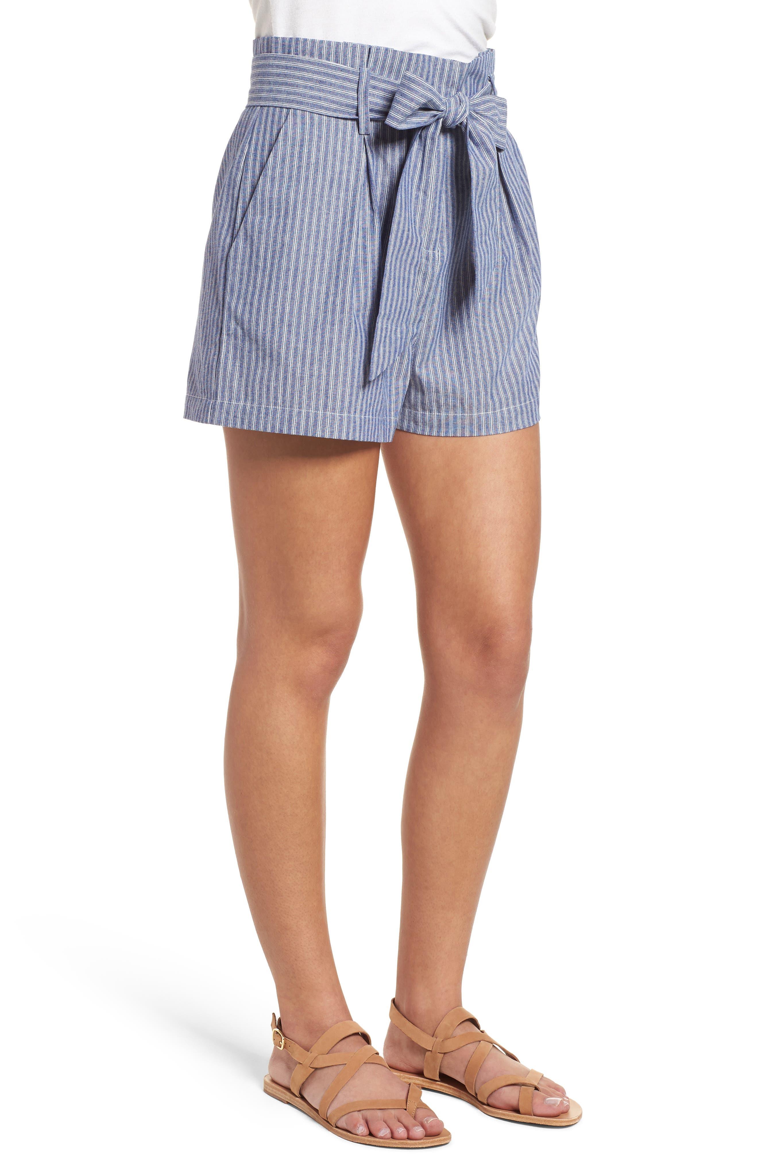 Paperbag Waist Stripe Shorts,                             Alternate thumbnail 3, color,                             Chambray Blue