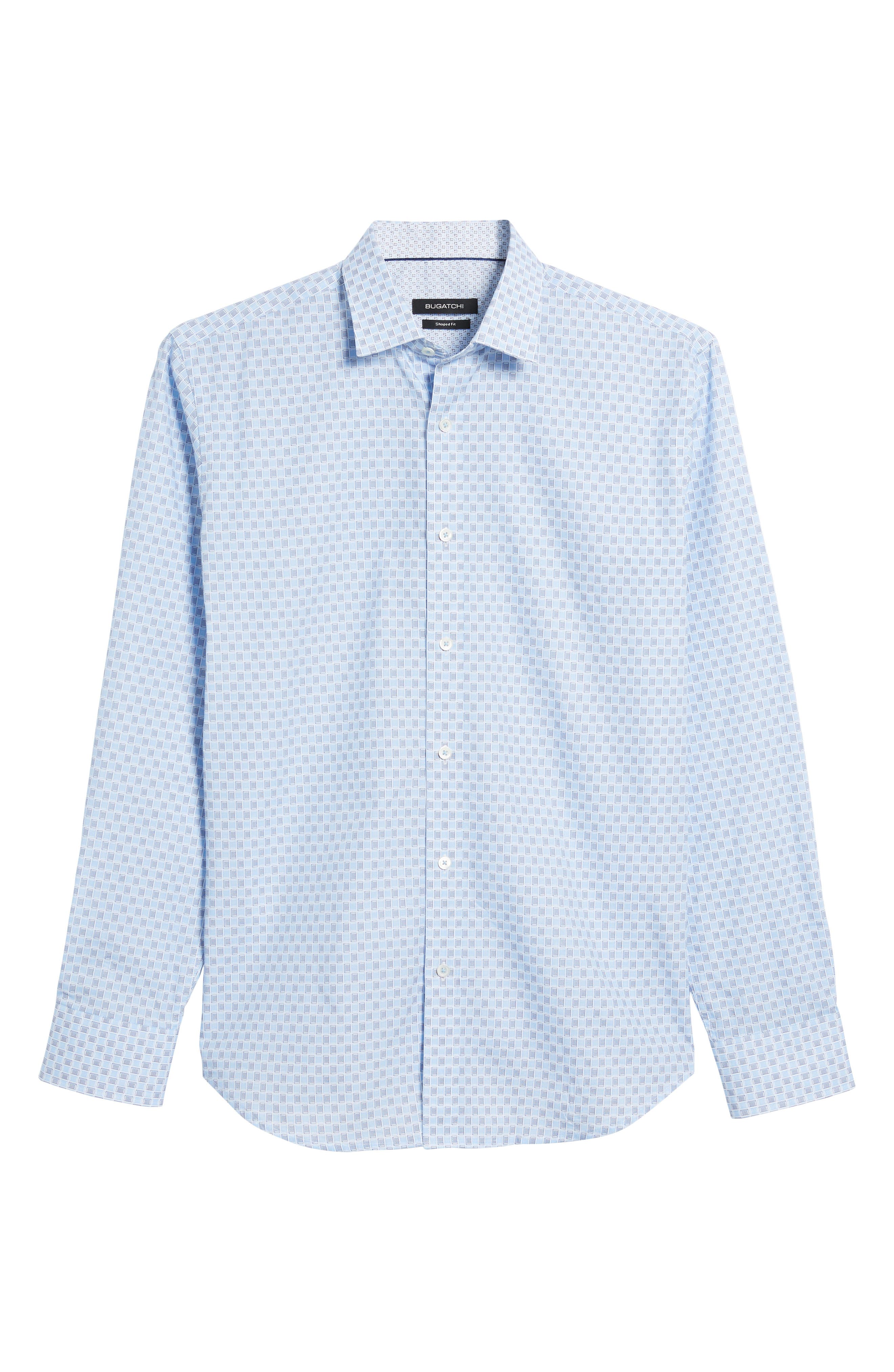 Shaped Fit Ice Cube Check Sport Shirt,                             Alternate thumbnail 6, color,                             Ice Blue