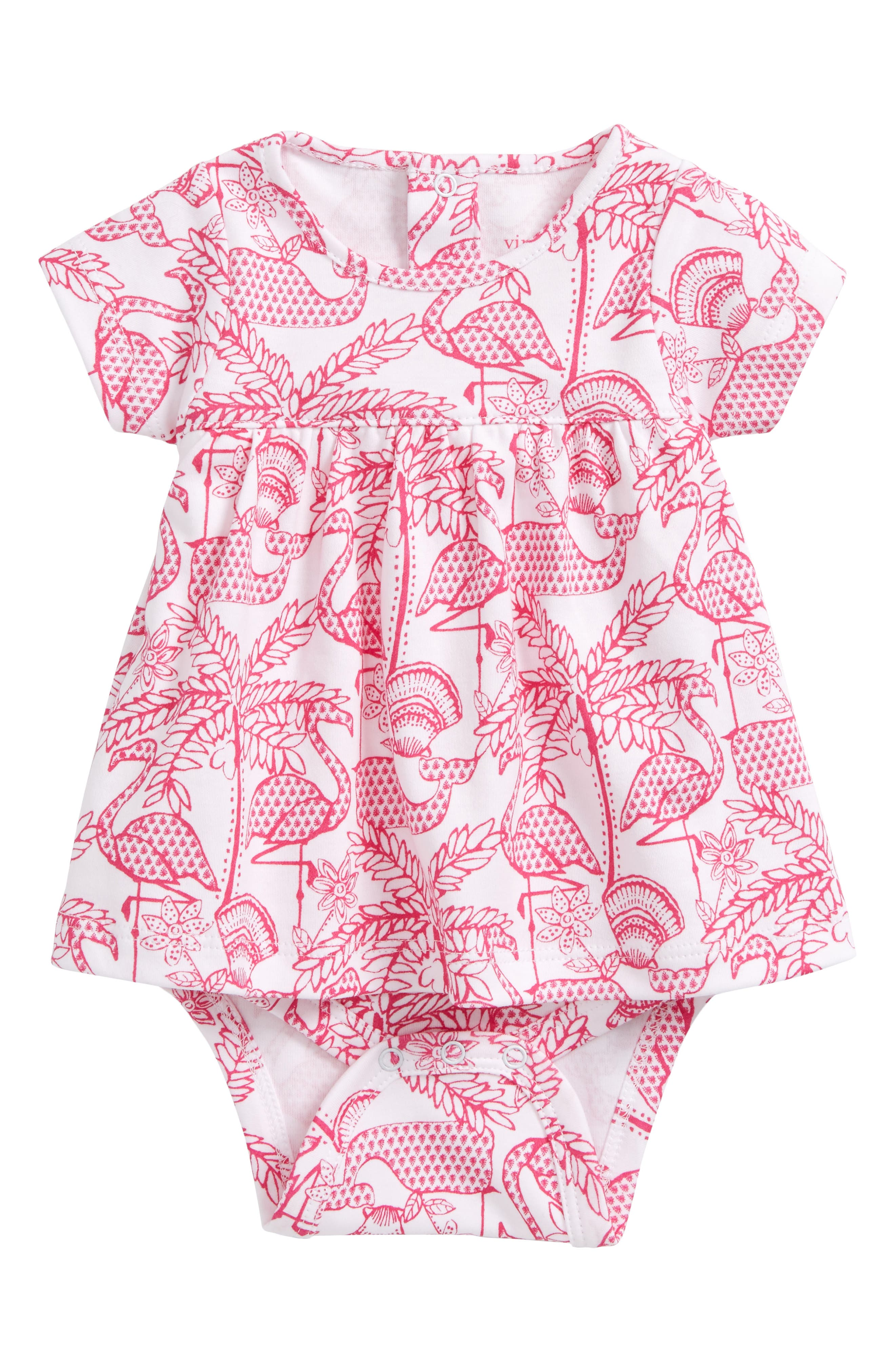 Alternate Image 1 Selected - vineyard vines Flamingo Pima Cotton Skirted Bodysuit (Baby Girls)