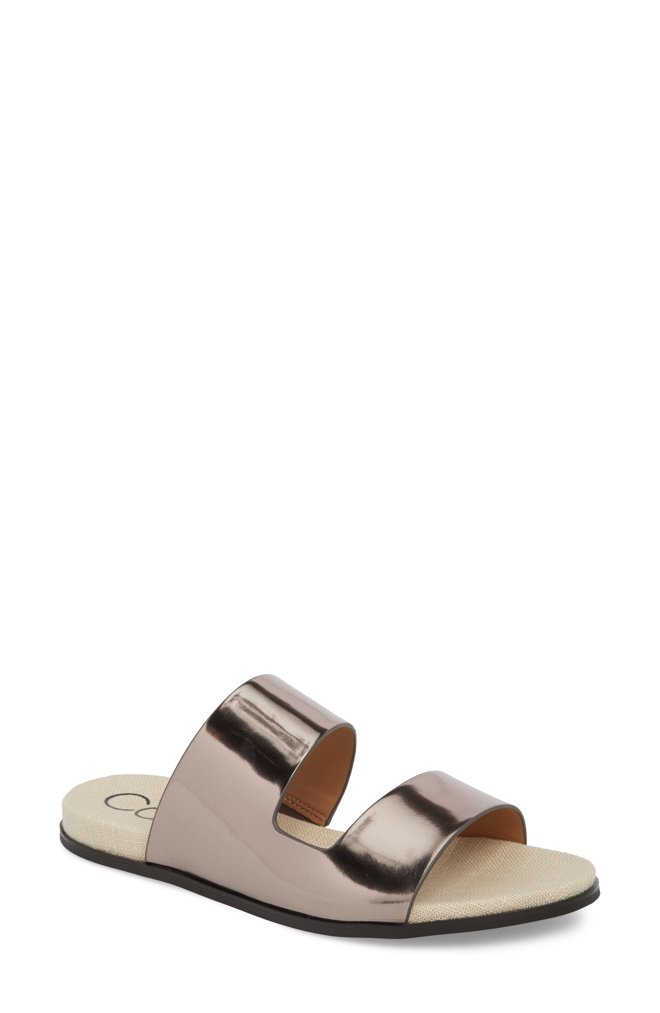 Posey Slide Sandal,                             Main thumbnail 1, color,                             Pewter Leather