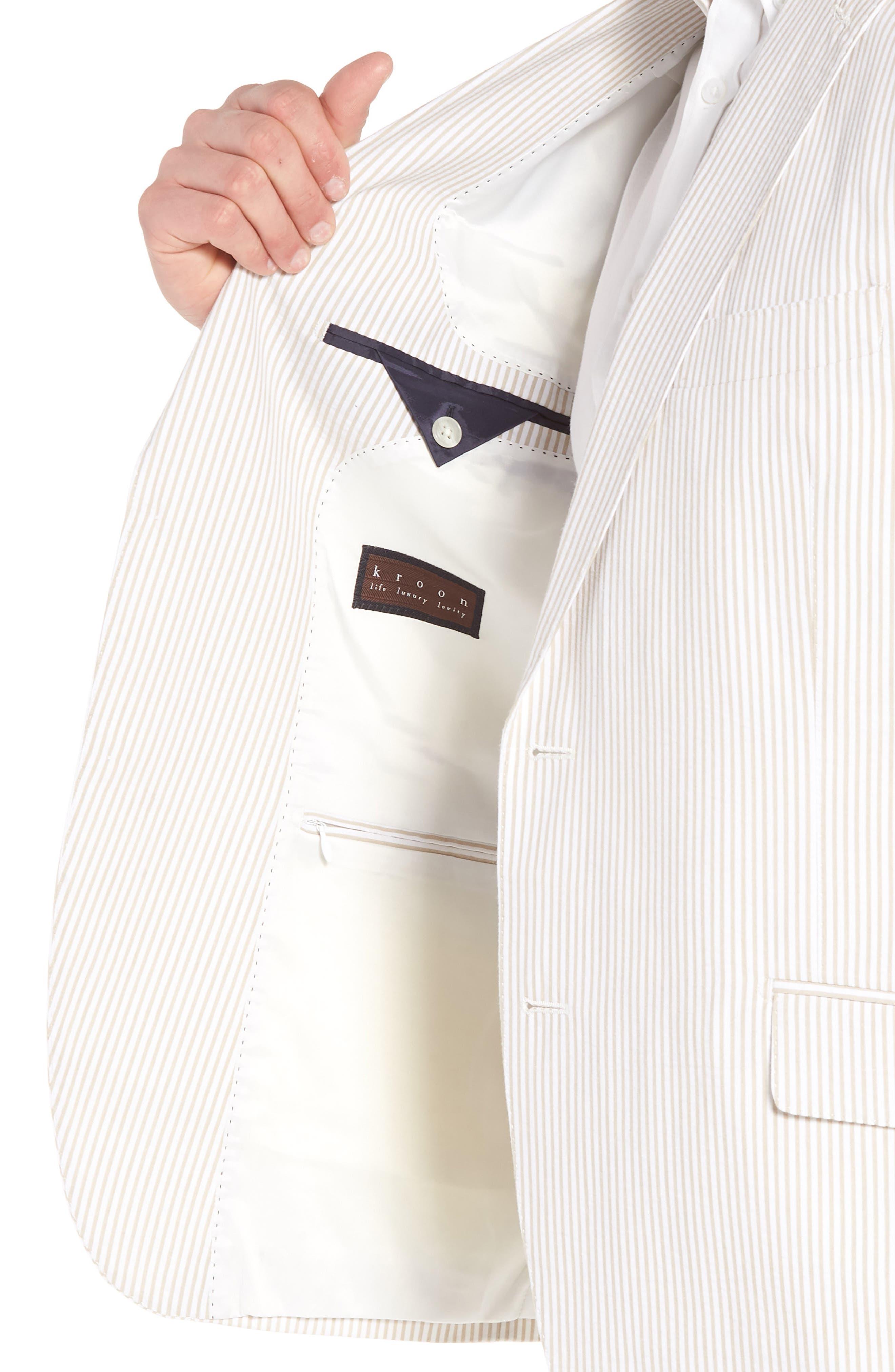 Jack AIM Classic Fit Seersucker Sport Coat,                             Alternate thumbnail 4, color,                             Tan And White