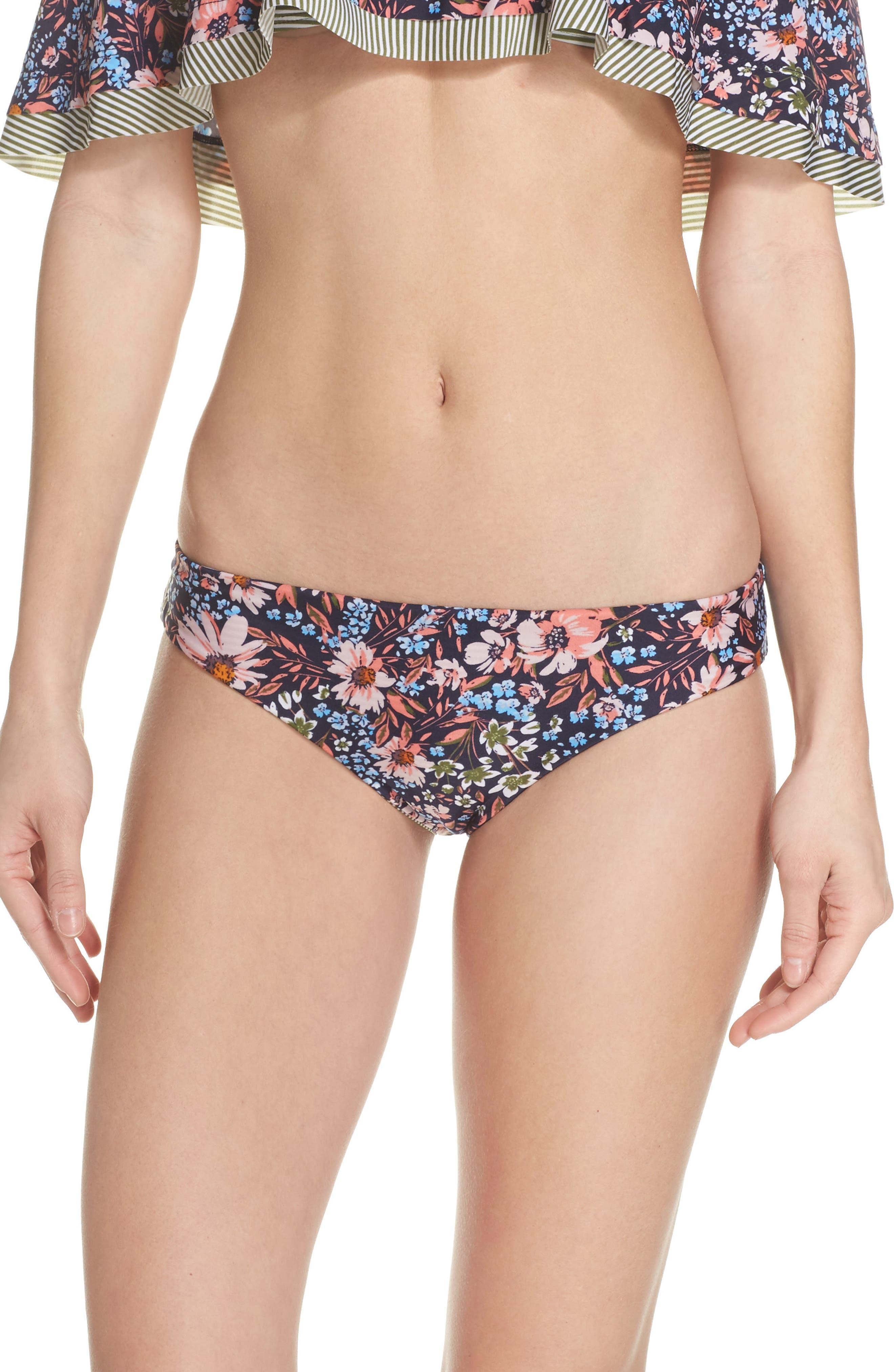 Enchanted Reversible Bikini Bottoms,                         Main,                         color, Olive Multi