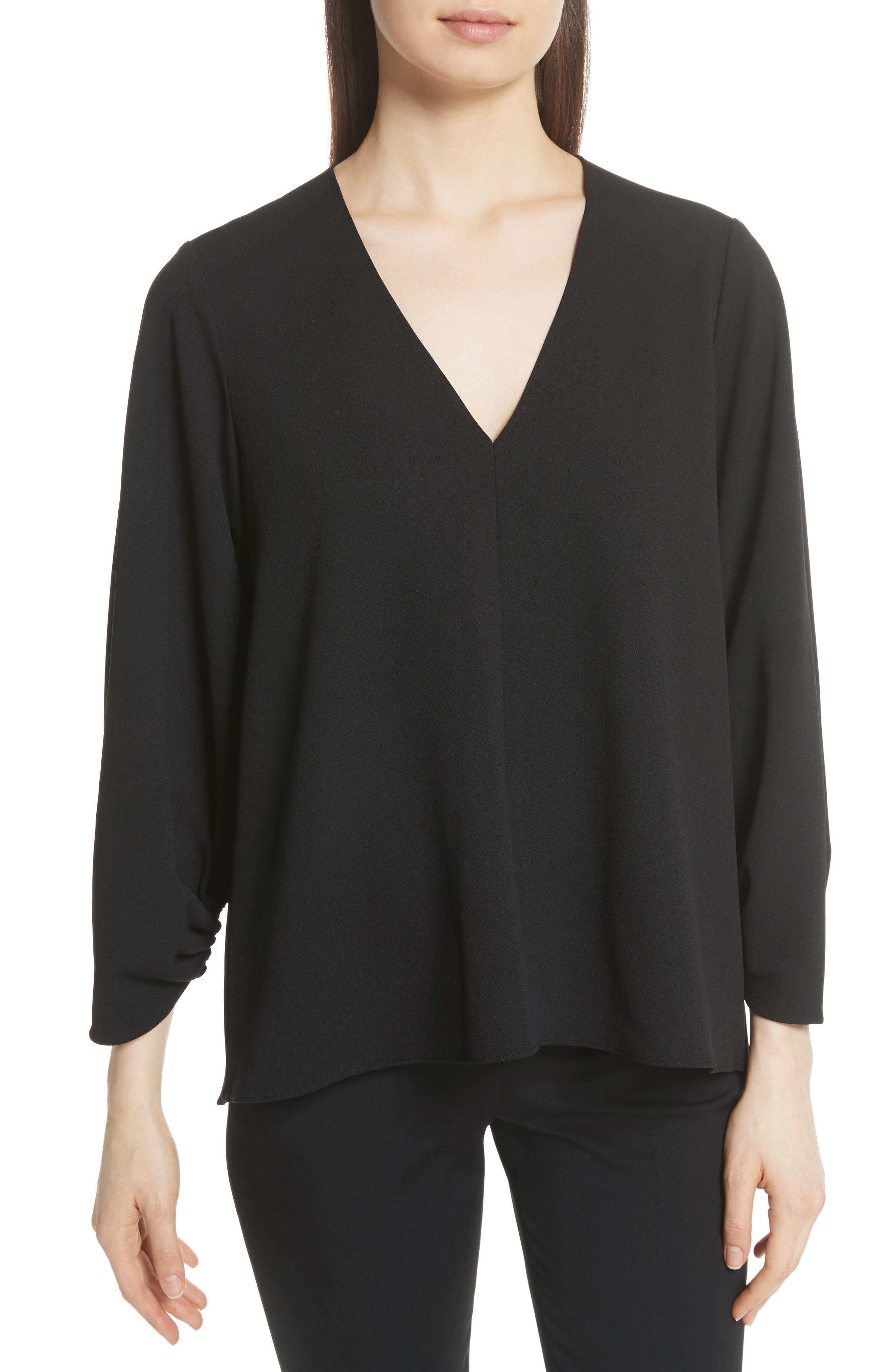 Ruched Sleeve Top,                         Main,                         color, Black