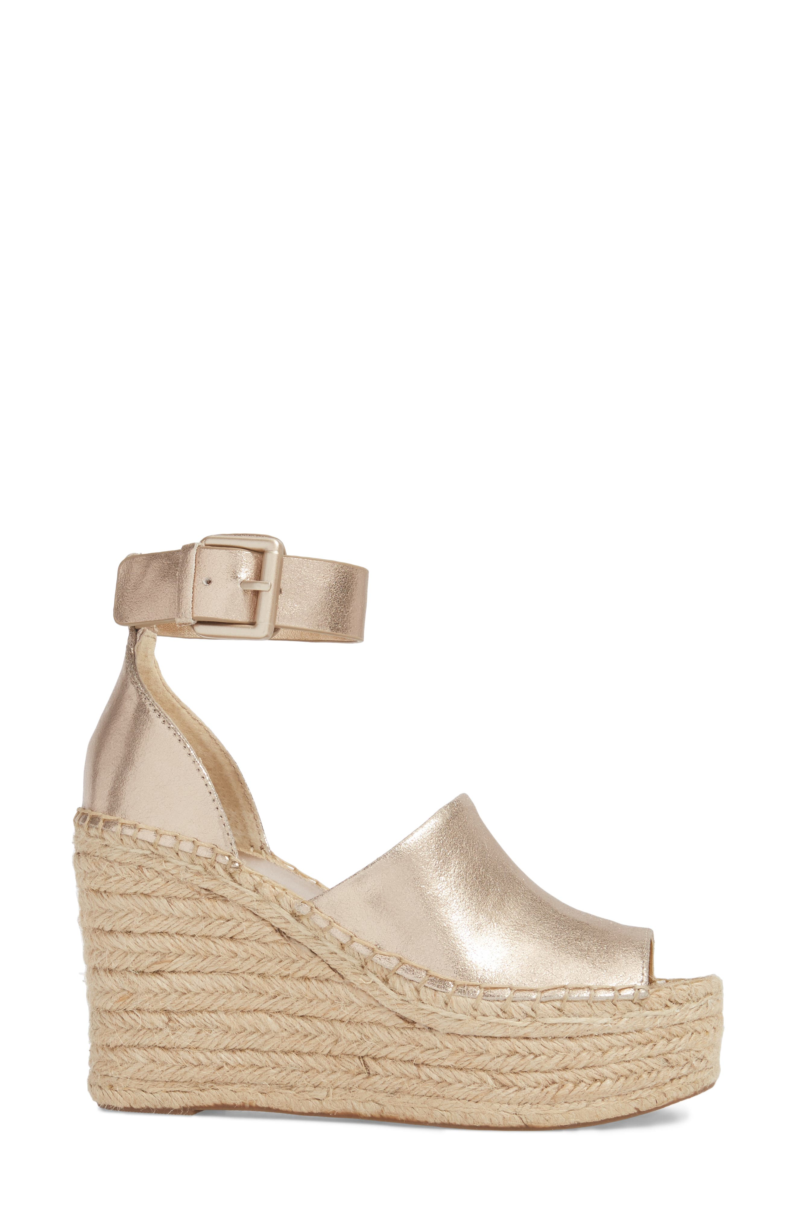 Adalyn Espadrille Wedge Sandal,                             Alternate thumbnail 3, color,                             Gold Leather