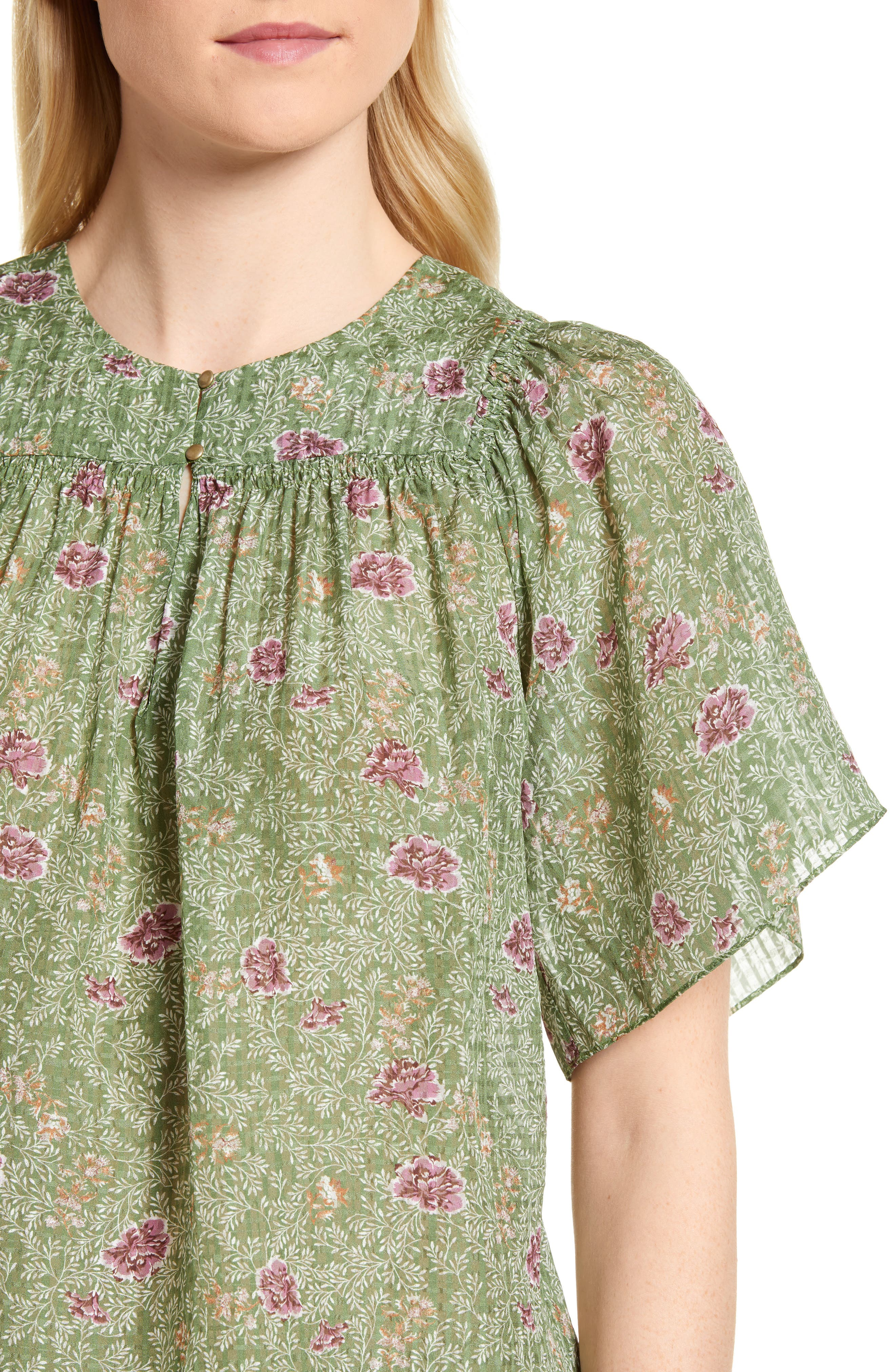 Floral Flutter Sleeve Silk Top,                             Alternate thumbnail 4, color,                             Green Vineyard Jakarta Floral