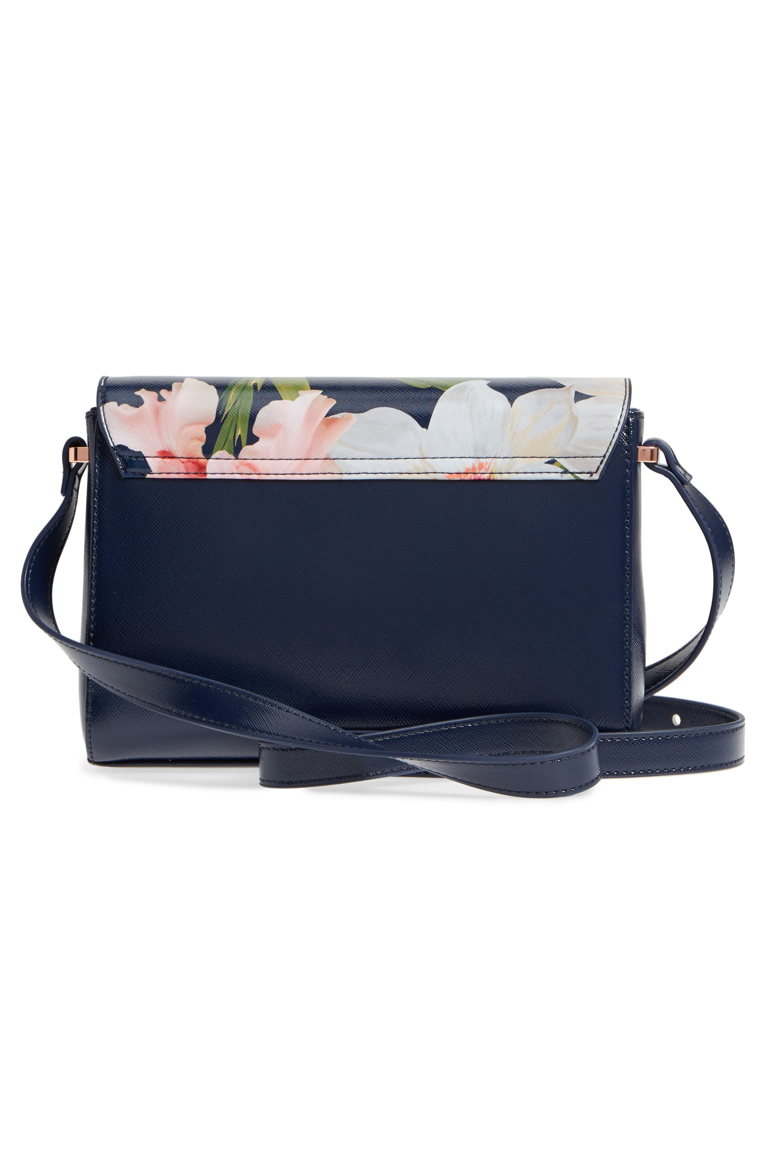 Prim Chatsworth Bloom Faux Leather Crossbody Bag,                             Alternate thumbnail 3, color,                             Navy