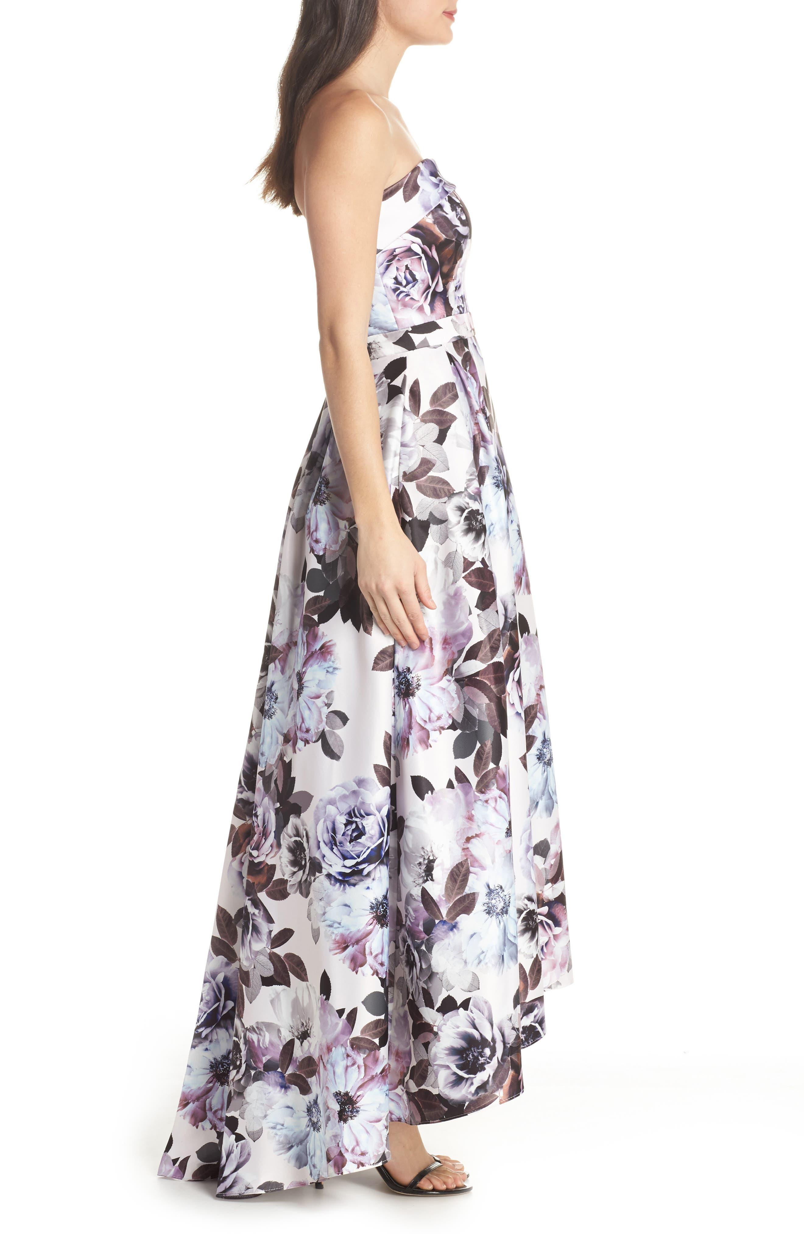 Floral Bustier High/Low Gown,                             Alternate thumbnail 3, color,                             Blue Multi