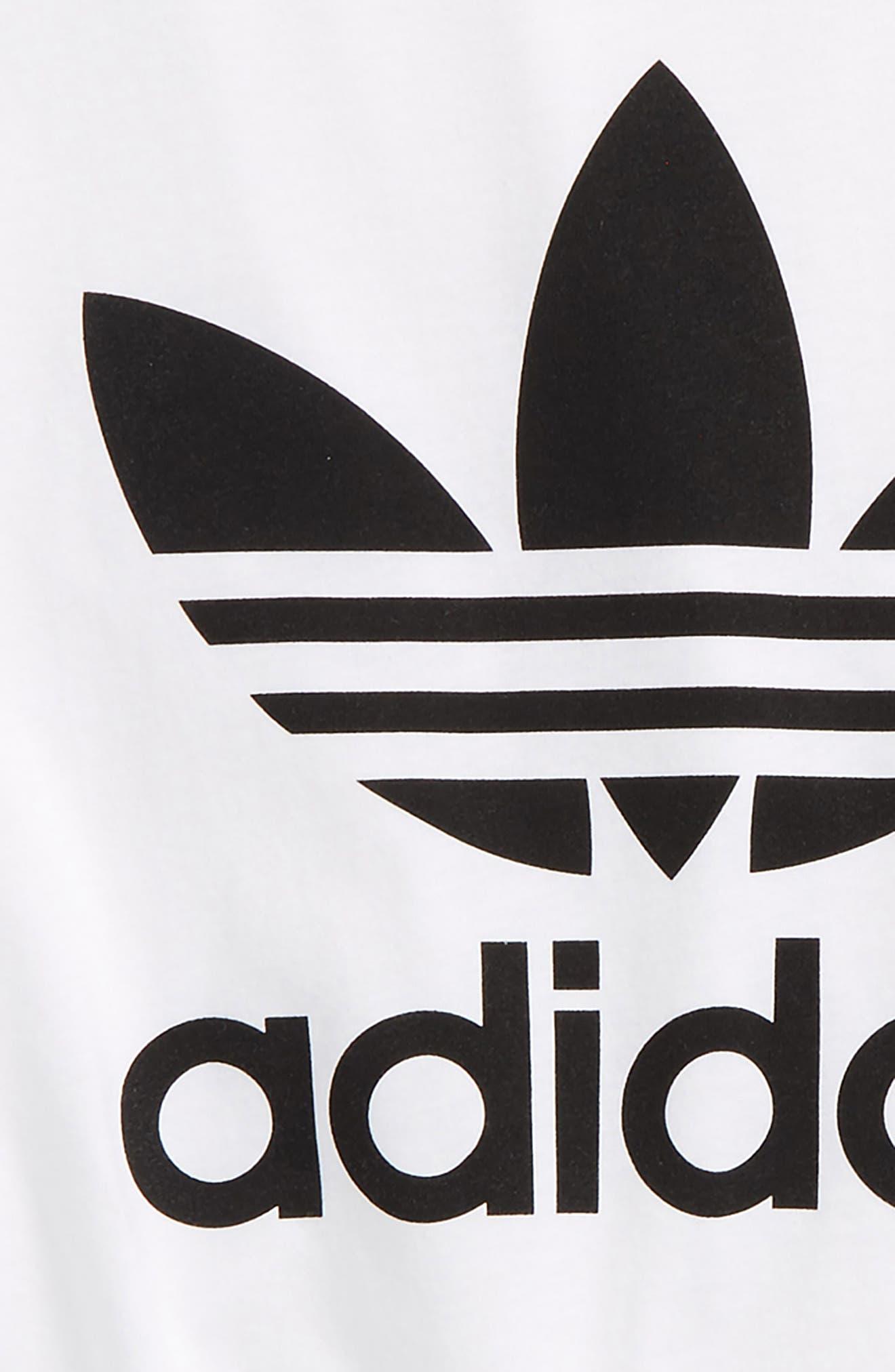 adidas Trefoil Logo T-Shirt,                             Alternate thumbnail 2, color,                             White/ Black