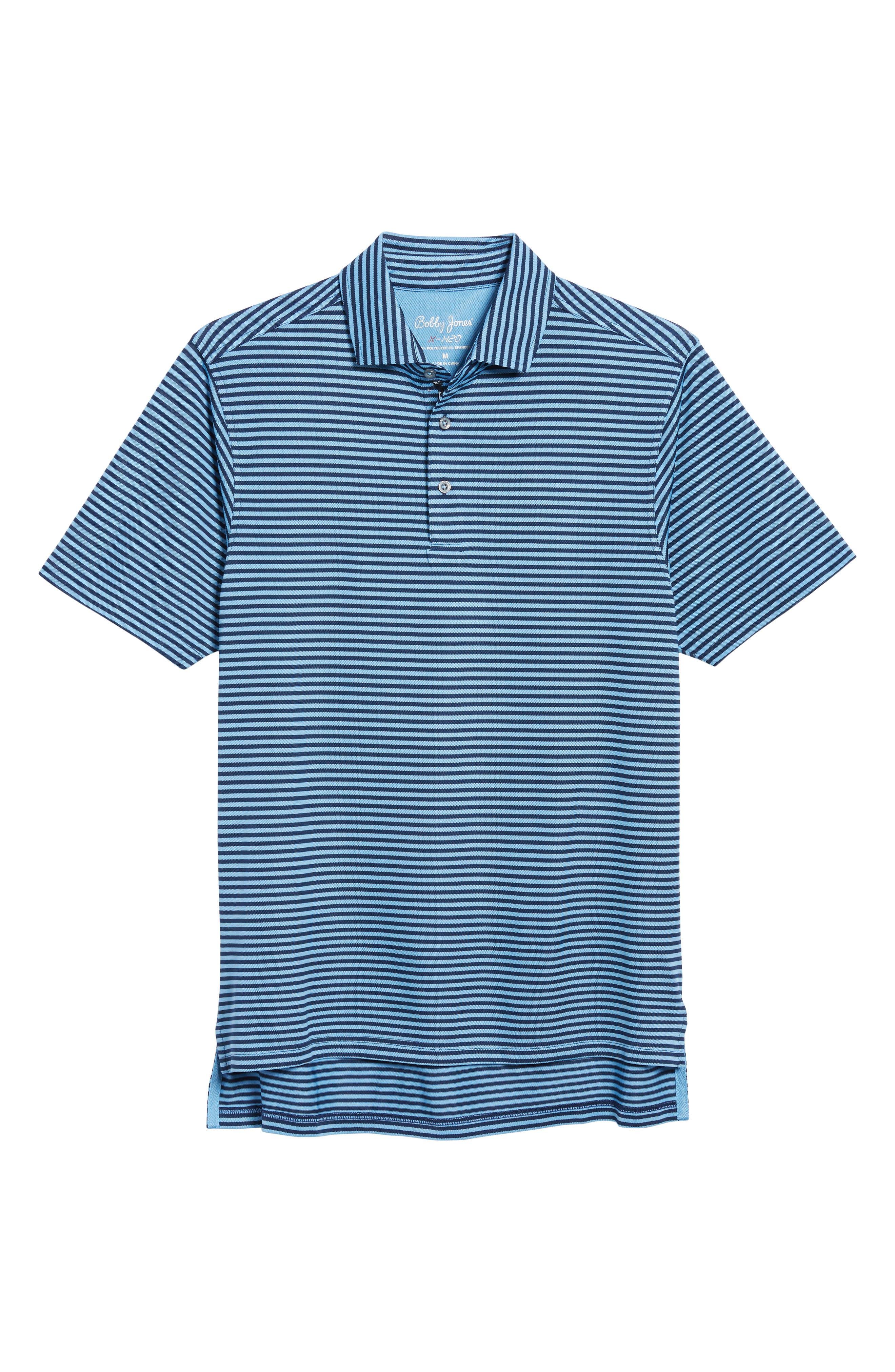XH2O Feed Stripe Stretch Golf Polo,                             Alternate thumbnail 6, color,                             Sky Blue