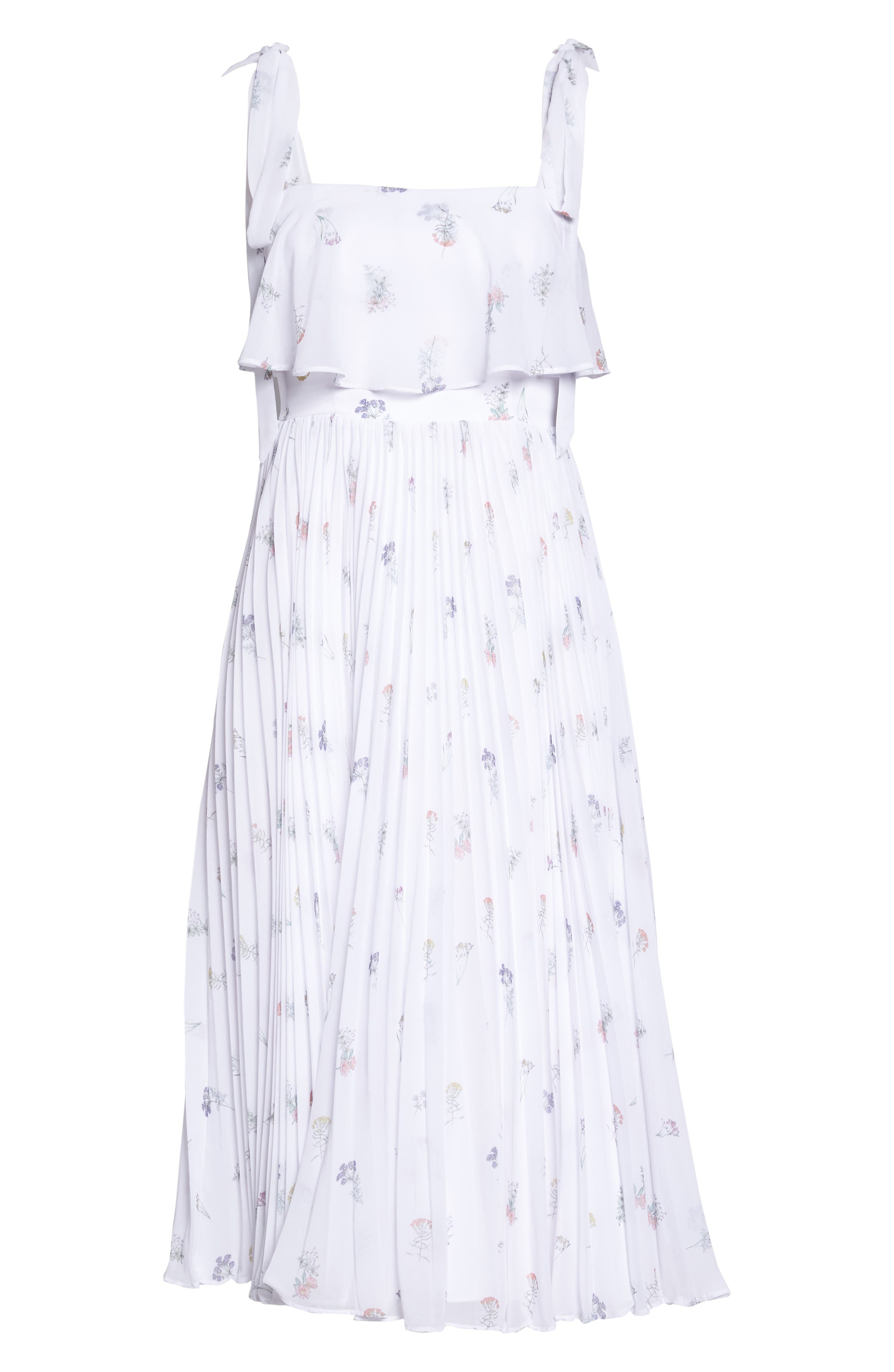 Penny Midi Dress,                             Alternate thumbnail 6, color,                             Spring Posy White