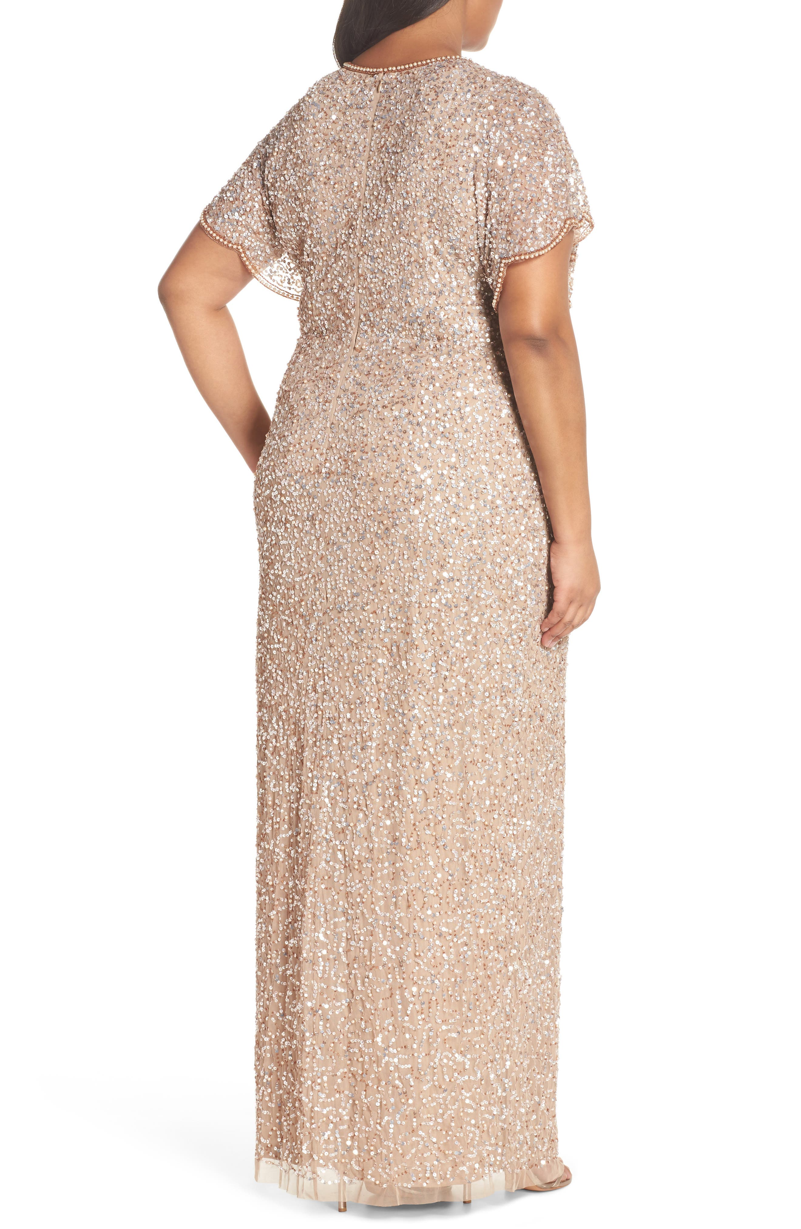 Alternate Image 2  - Adrianna Papell Flutter Sleeve Beaded Sequin Gown (Plus Size)