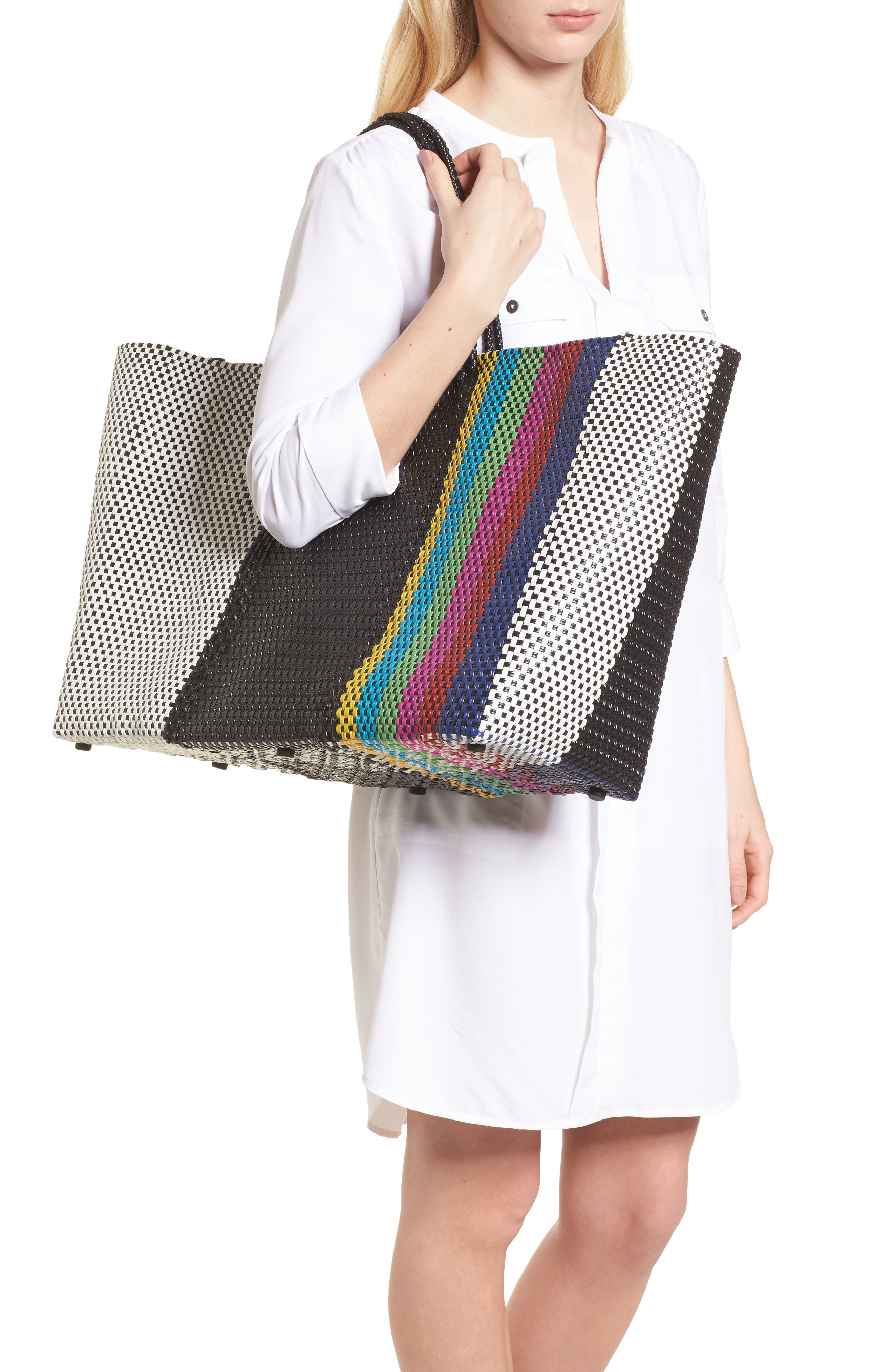 Woven Stripe Weekend Tote,                             Alternate thumbnail 2, color,                             Tv Color