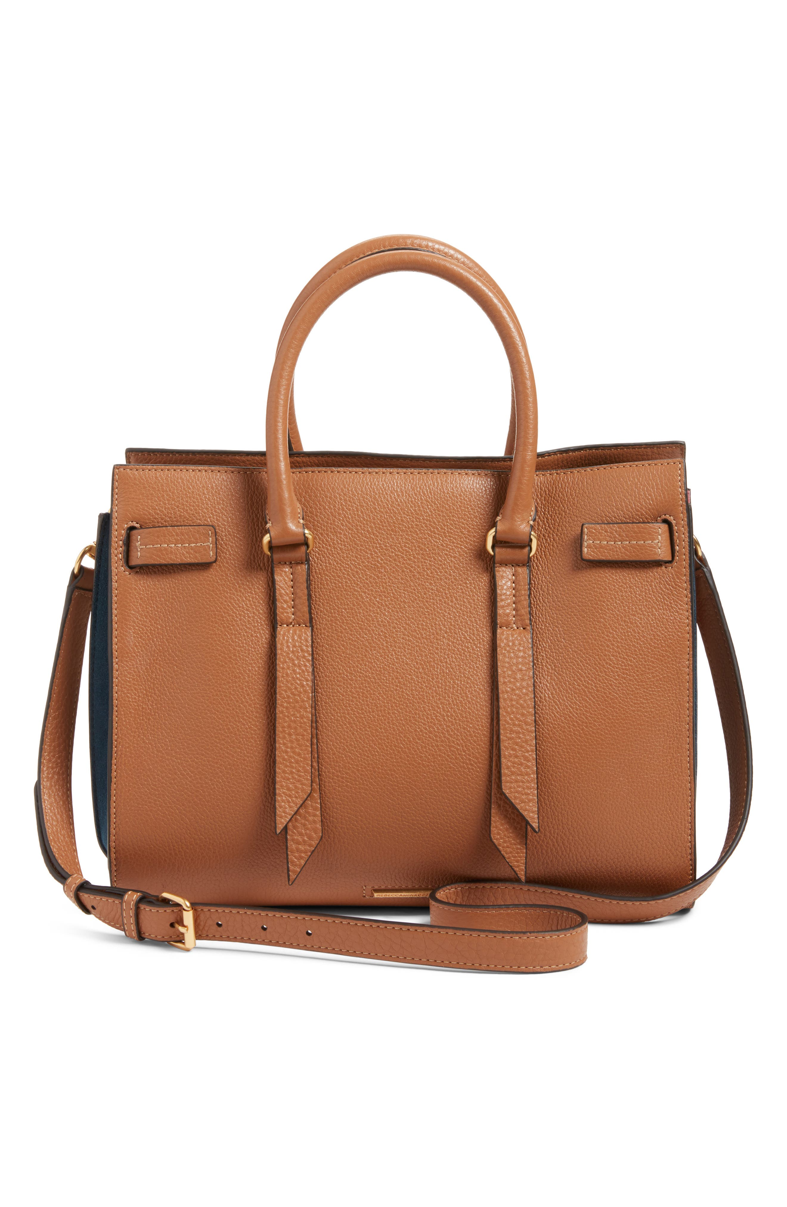Sherry Calfskin Leather Satchel,                             Alternate thumbnail 3, color,                             Almond Multi
