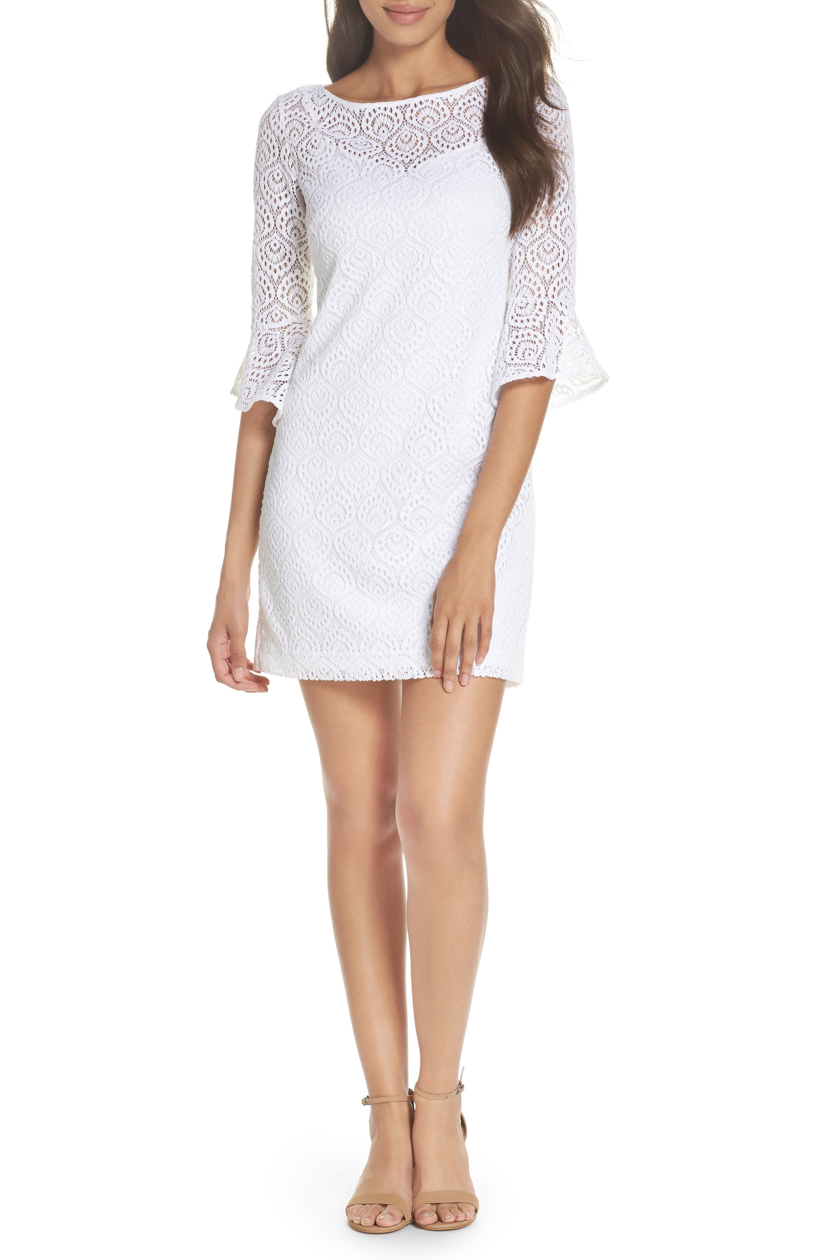 Fontaine Lace Minidress,                         Main,                         color, Resort White Gypsea Lace