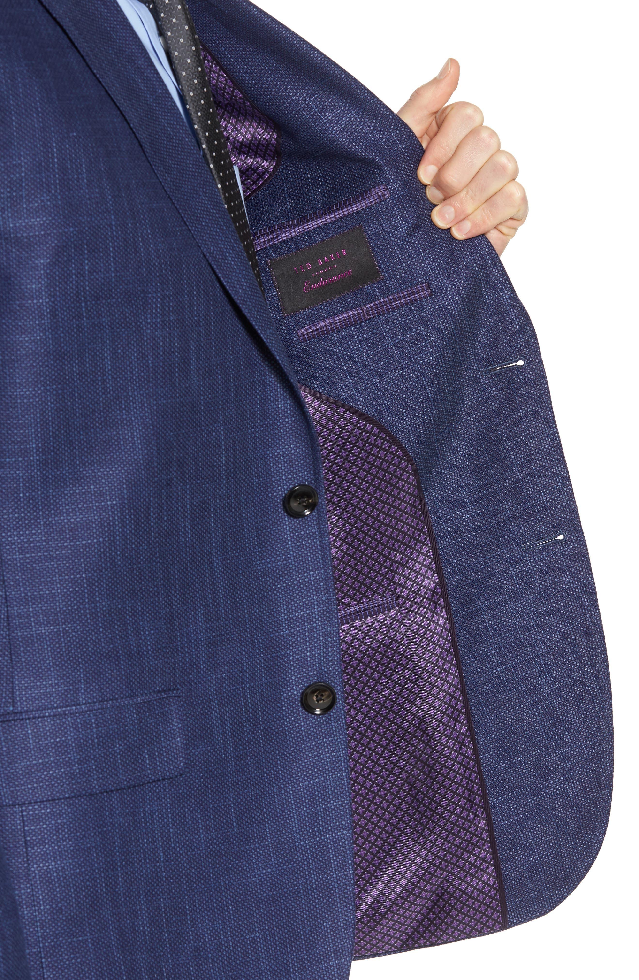 Jay Trim Fit Linen & Wool Blazer,                             Alternate thumbnail 4, color,                             Blue