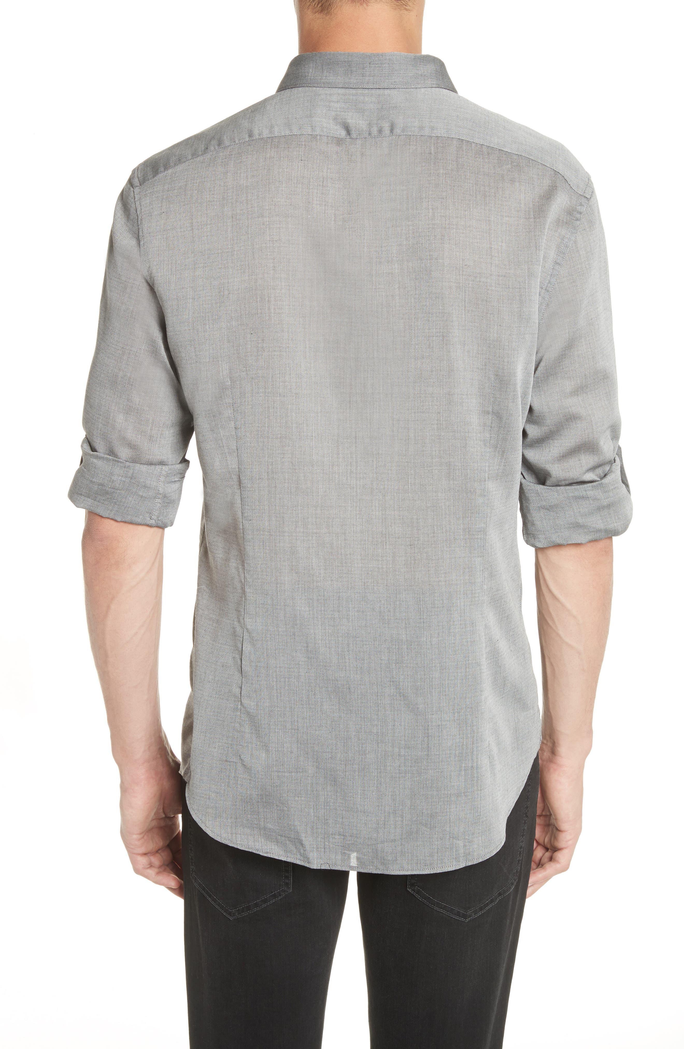 Slim Fit Roller Long Sleeve Shirt,                             Alternate thumbnail 2, color,                             Grey Hthr