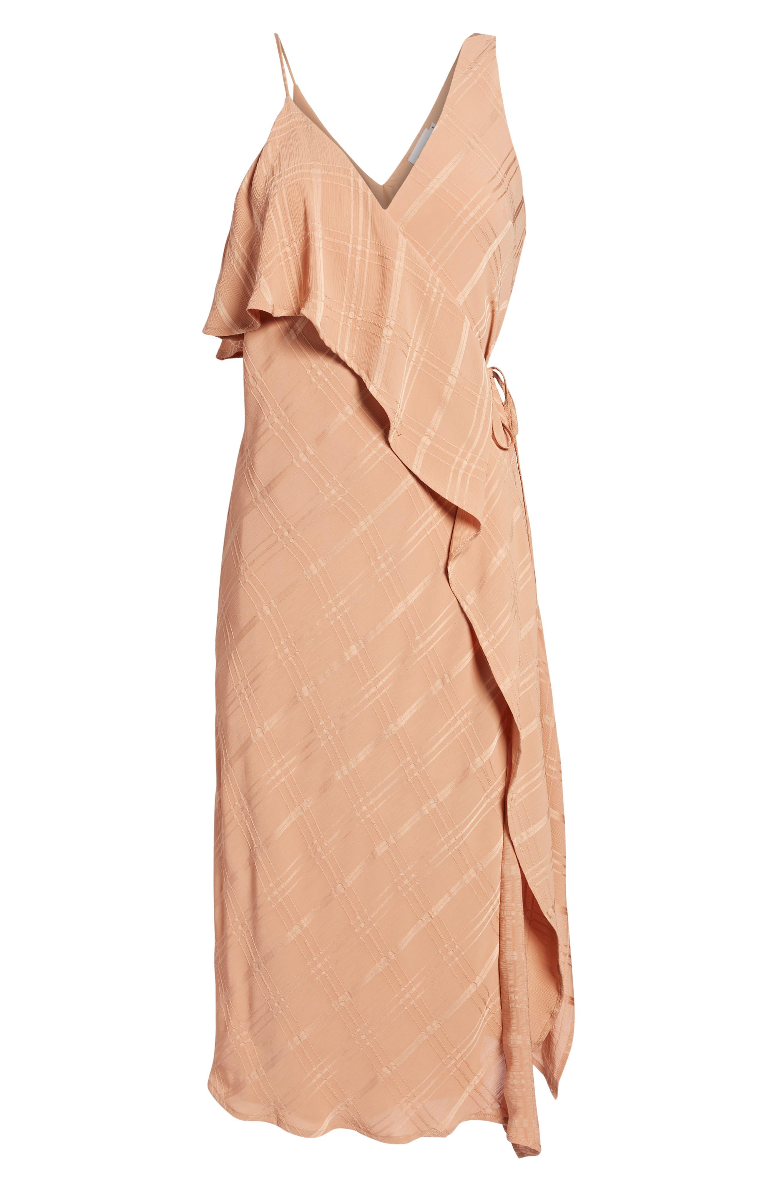 Yoanna Ruffle Trim Wrap Dress,                             Alternate thumbnail 6, color,                             Terracotta
